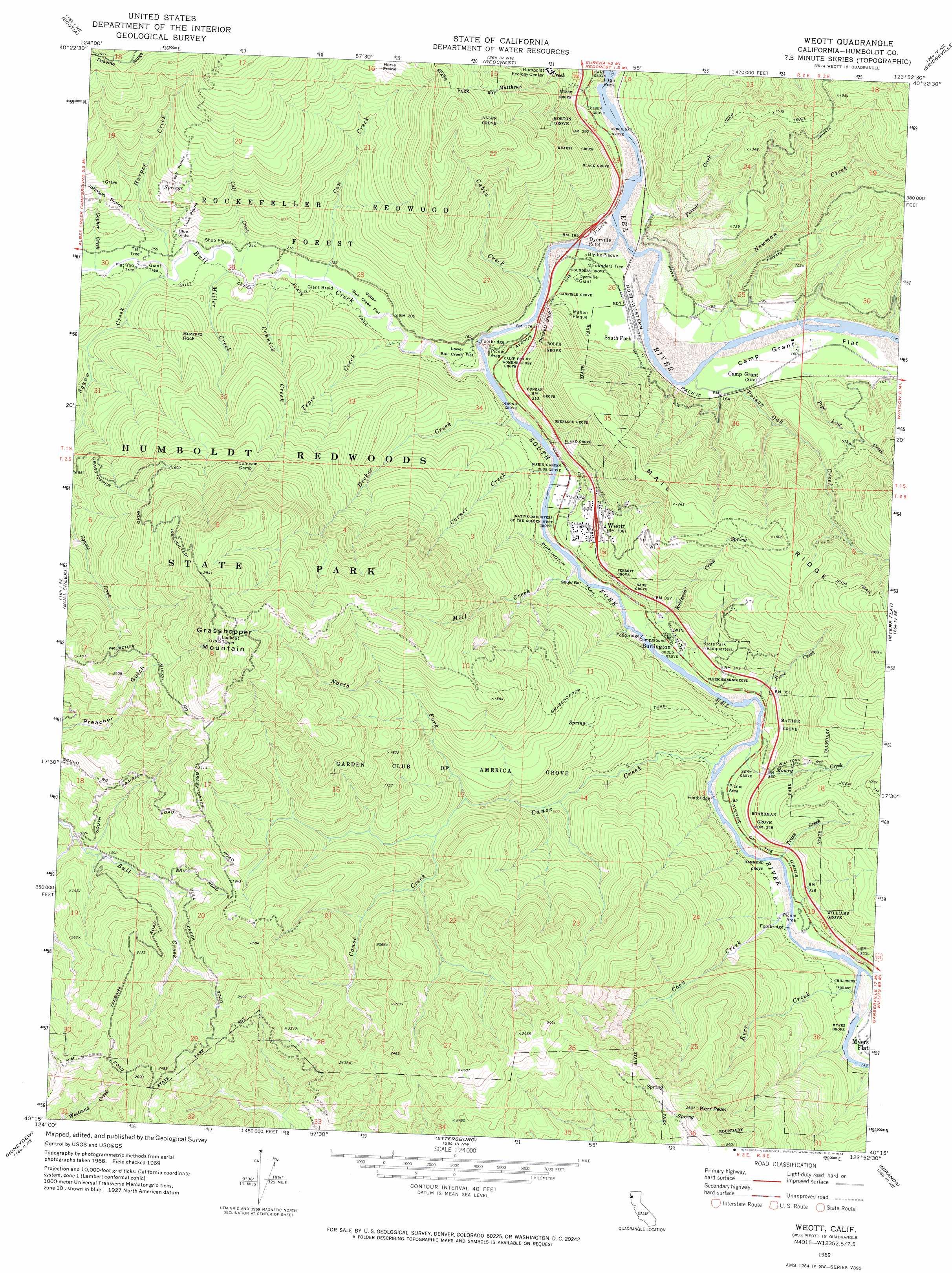 Weott Topographic Map Ca Usgs Topo Quad 40123c8