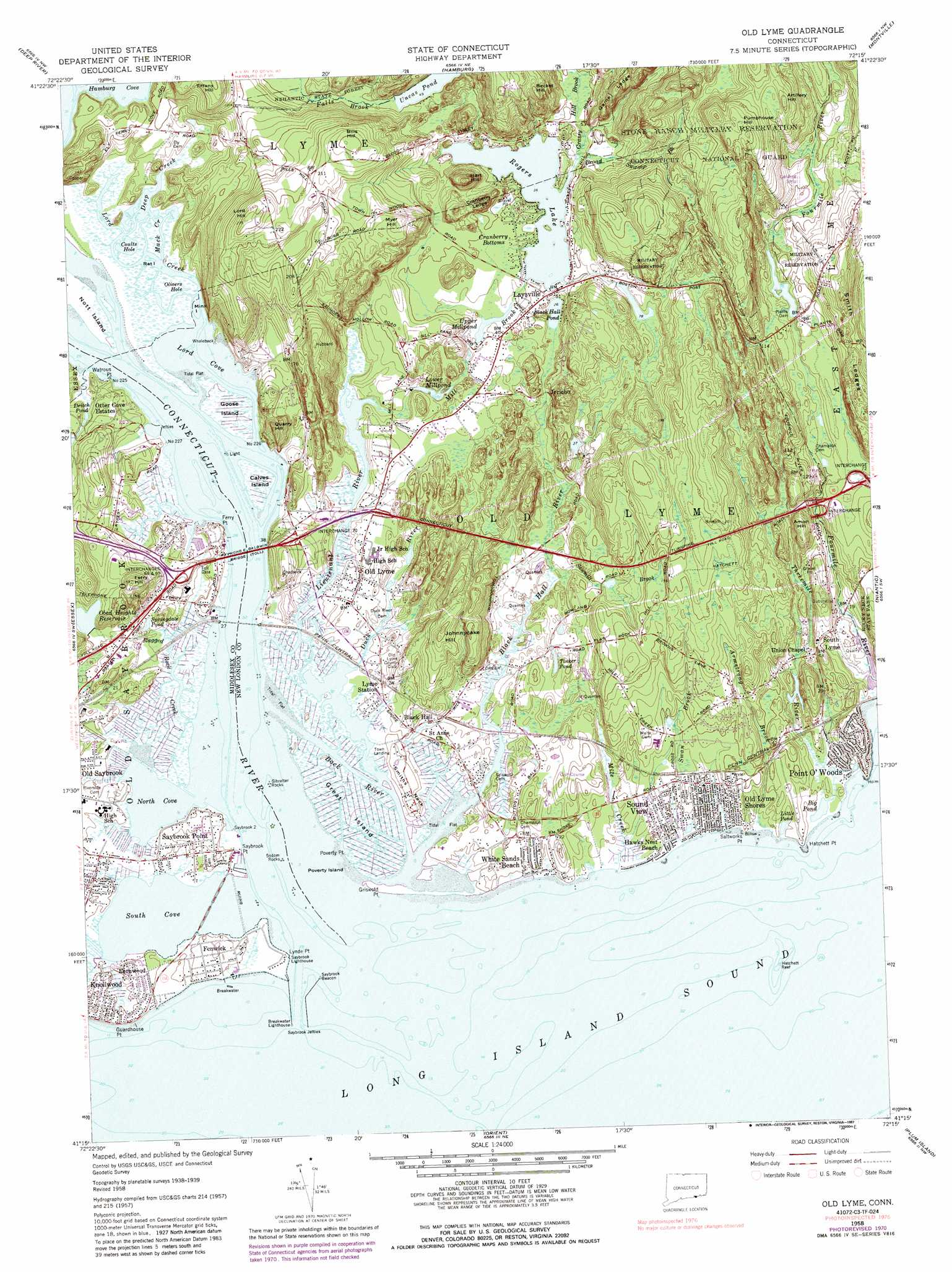 Old Lyme Topographic Map CT  USGS Topo Quad 41072c3