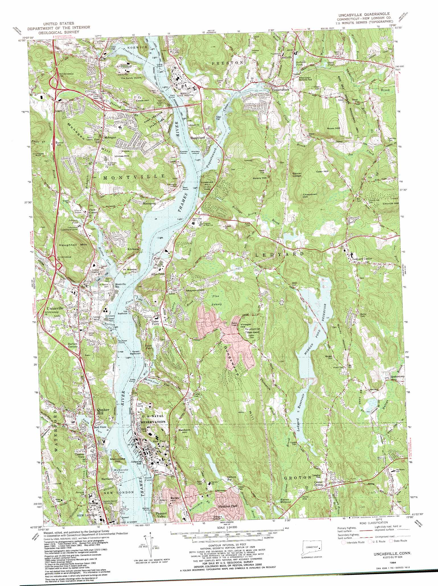 Uncasville Topographic Map CT  USGS Topo Quad 41072d1