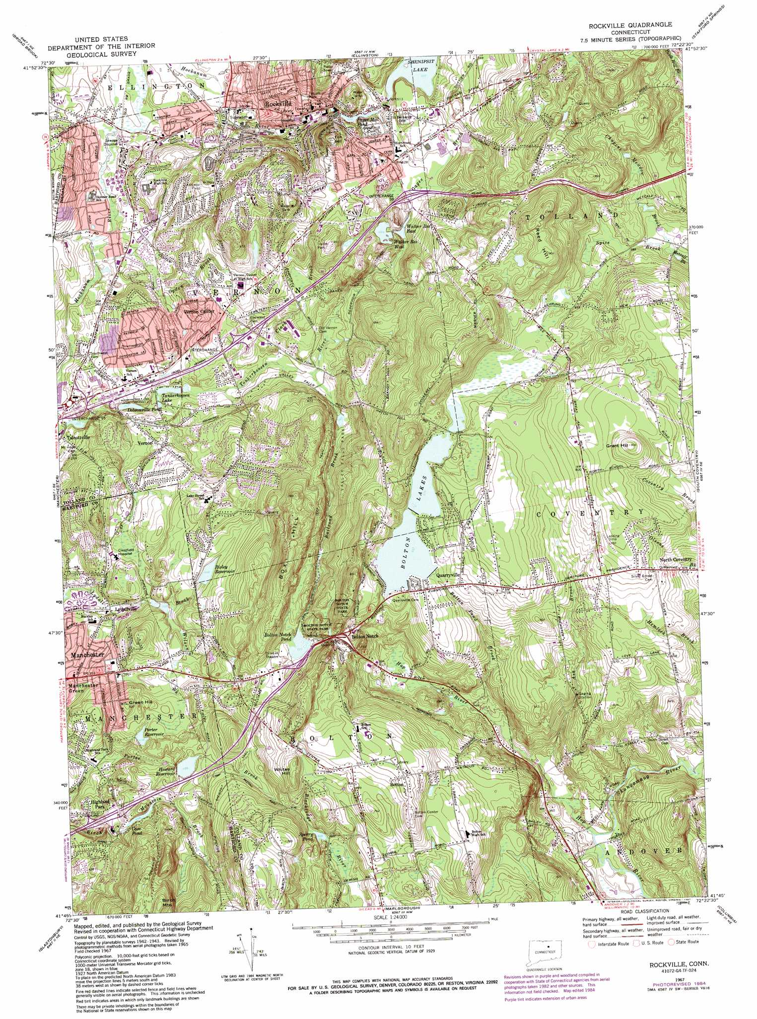 Rockville Topographic Map CT  USGS Topo Quad 41072g4