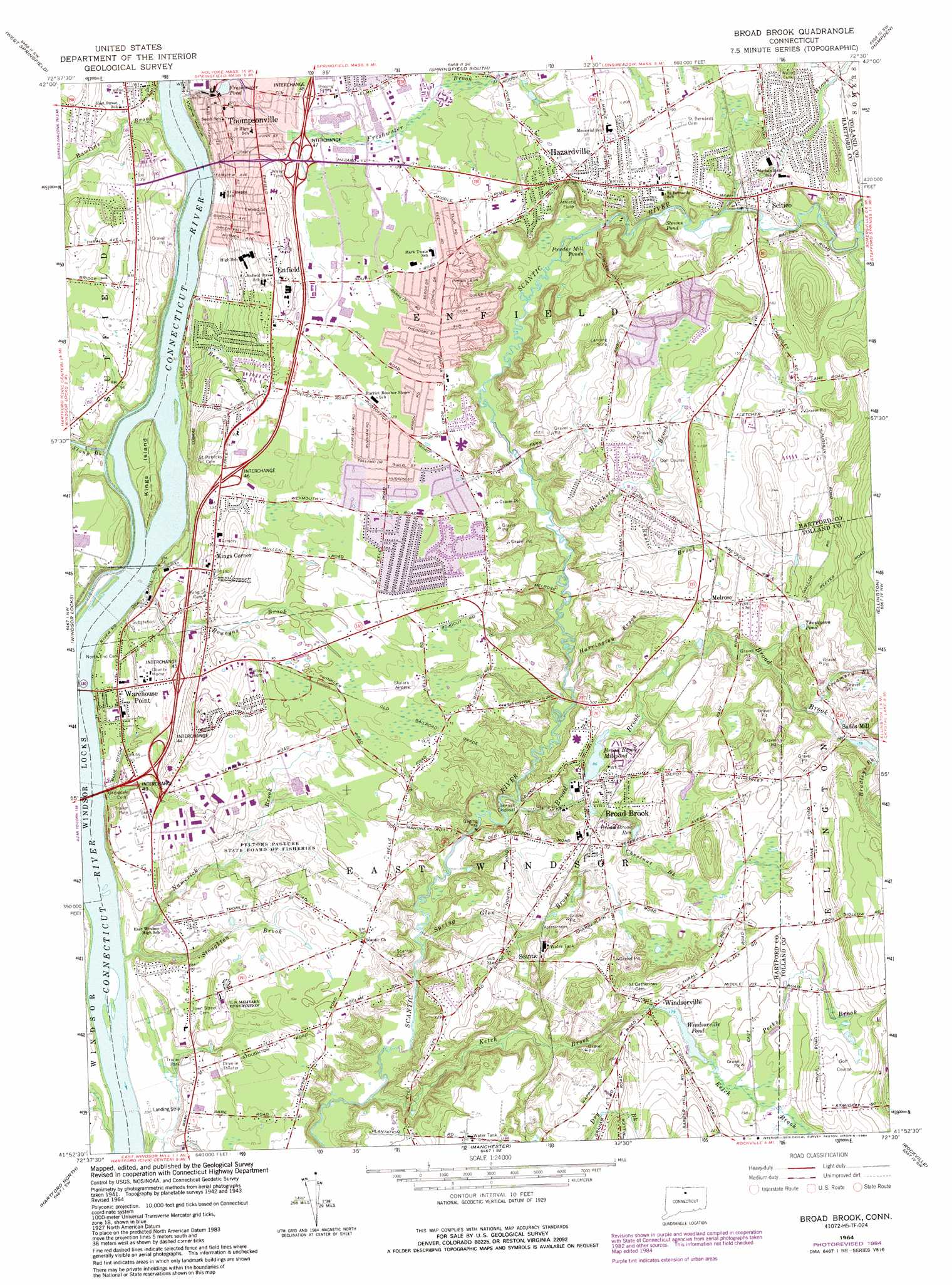 Broad Brook Topographic Map CT  USGS Topo Quad 41072h5