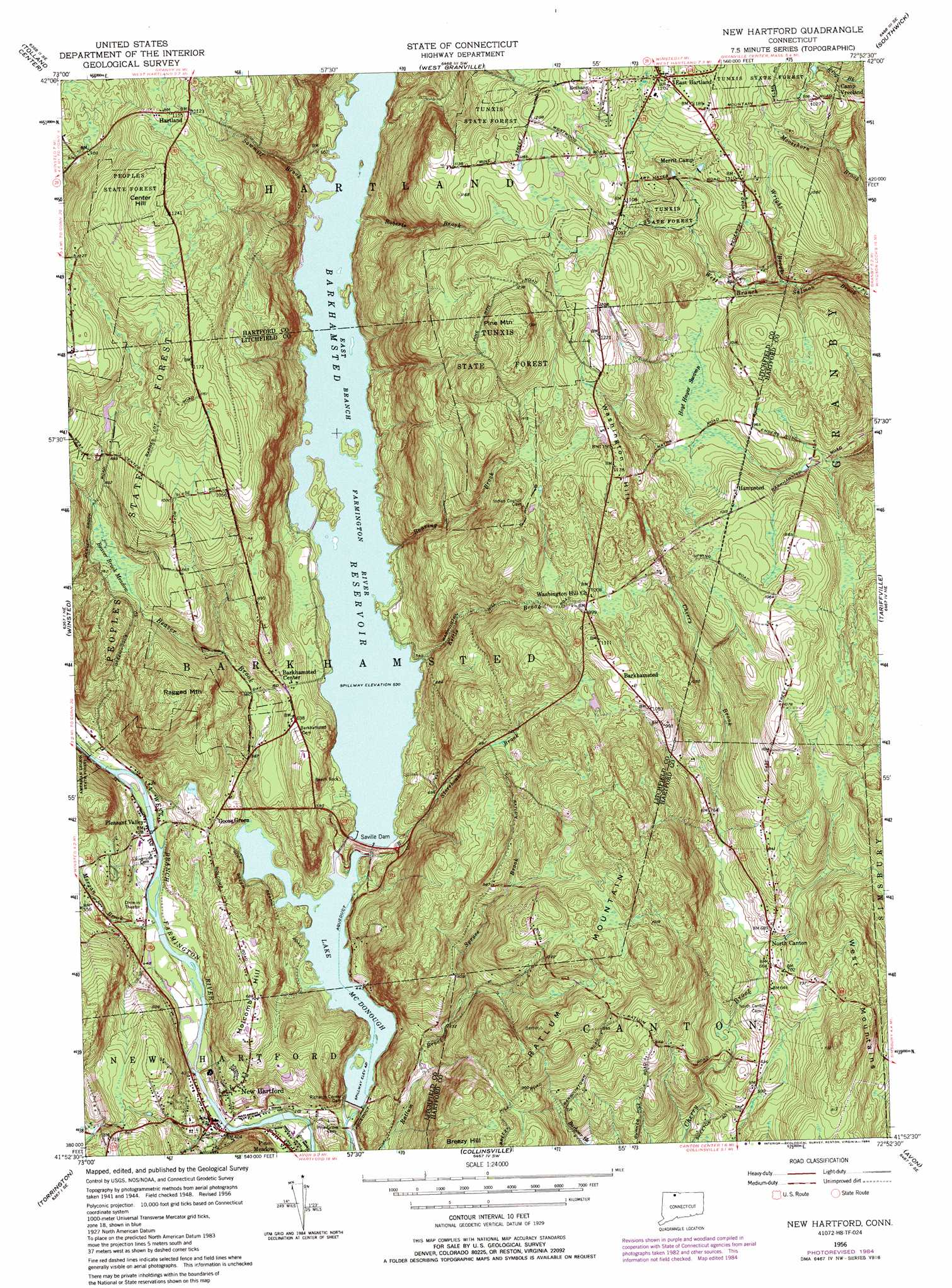 New Hartford Topographic Map CT  USGS Topo Quad 41072h8
