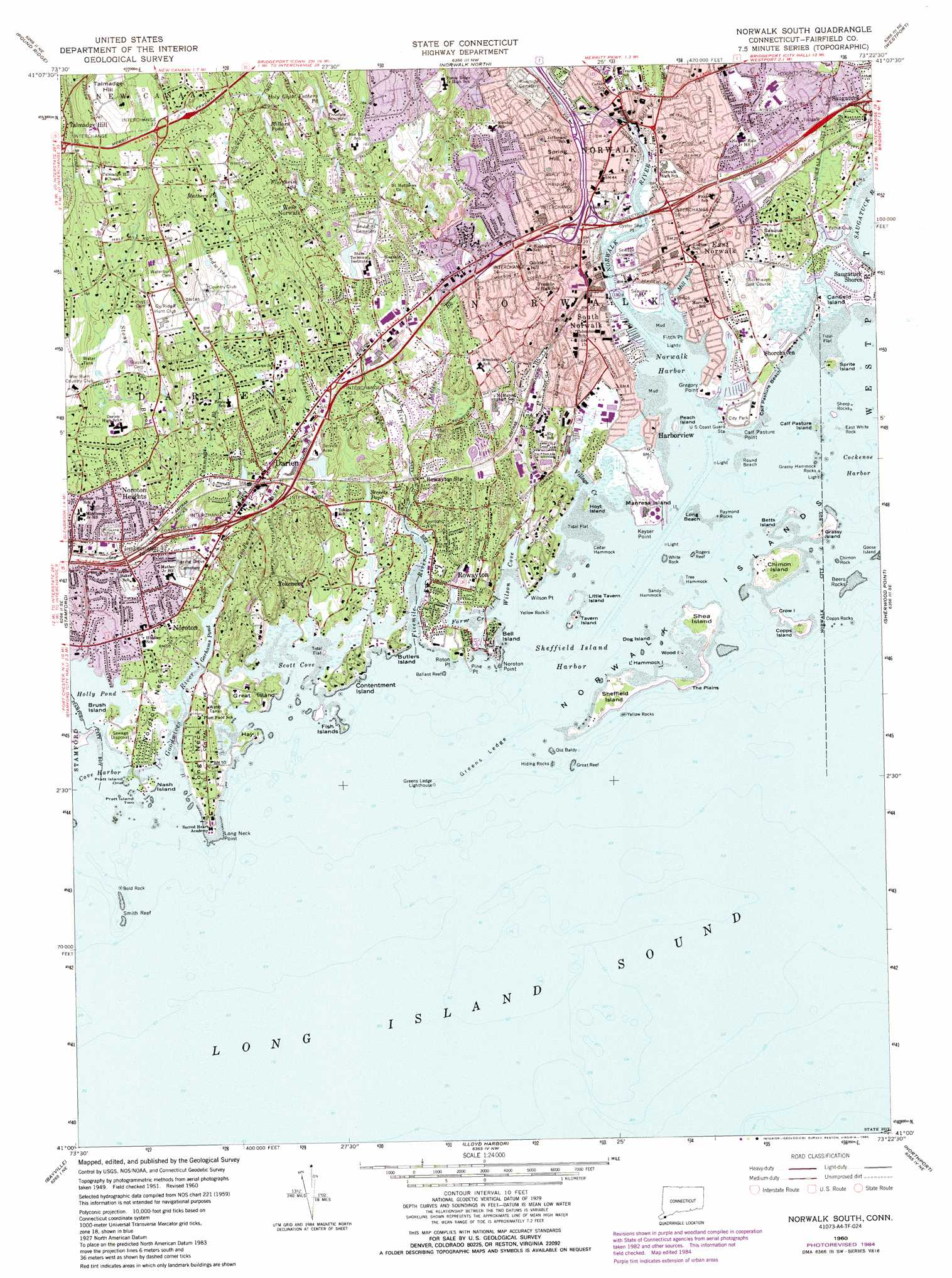 Norwalk South topographic map, CT, NY - USGS Topo Quad 41073a4