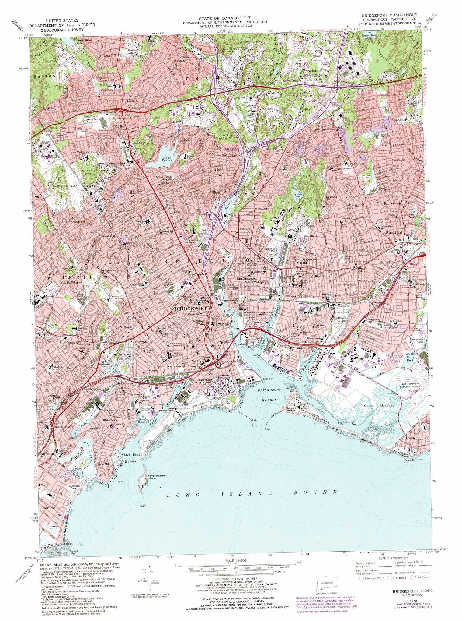 Bridgeport Topographic Map CT  USGS Topo Quad 41073b2