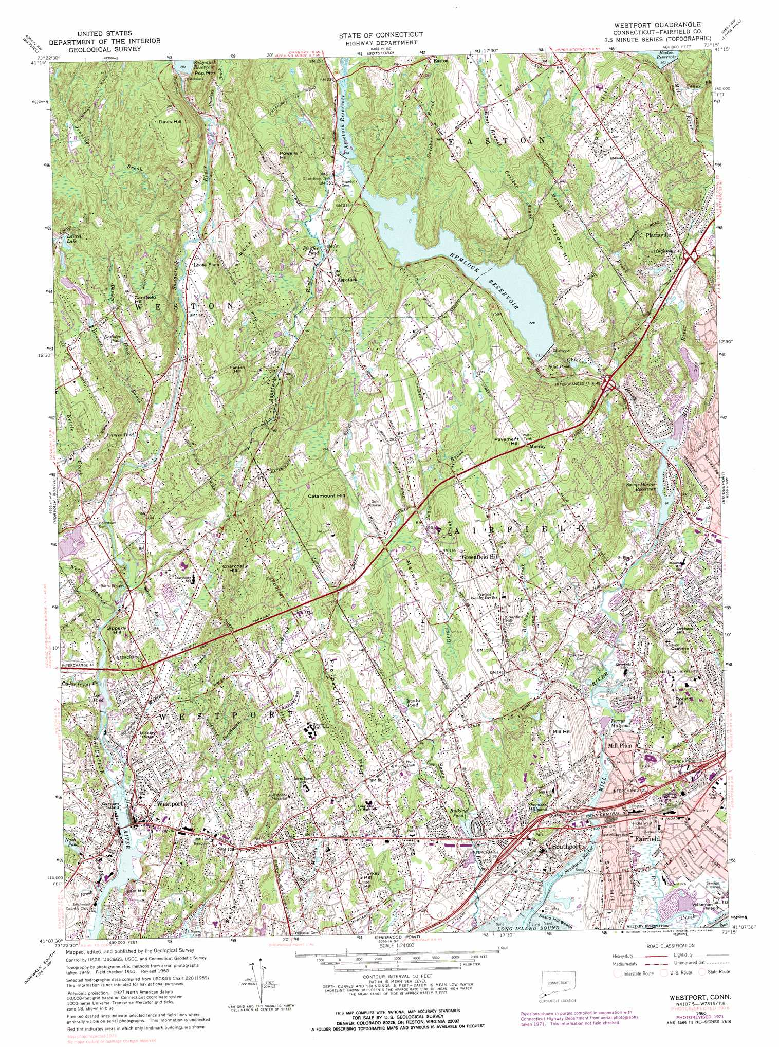 Westport Topographic Map CT  USGS Topo Quad 41073b3