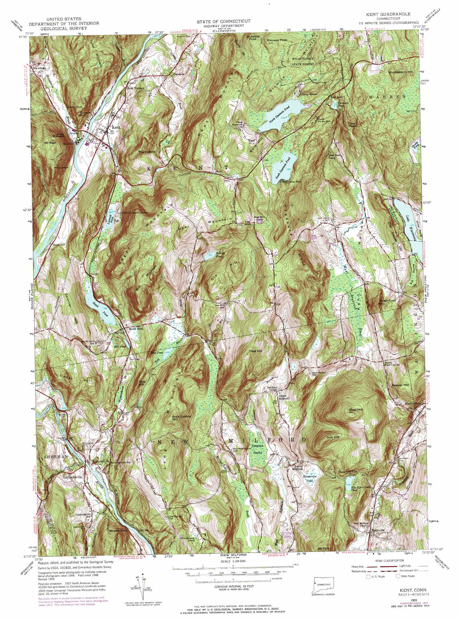 Kent Topographic Map CT  USGS Topo Quad 41073f4