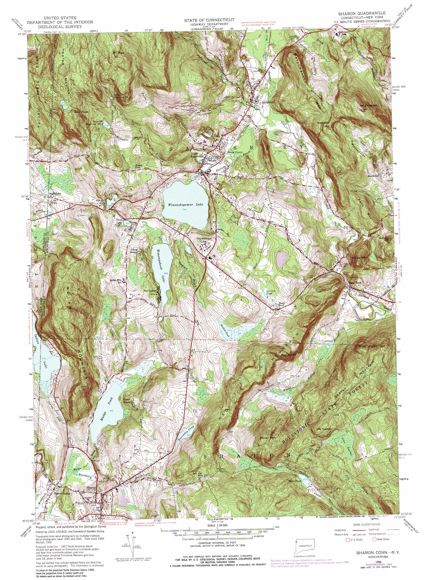 Sharon Topographic Map CT NY  USGS Topo Quad 41073h4