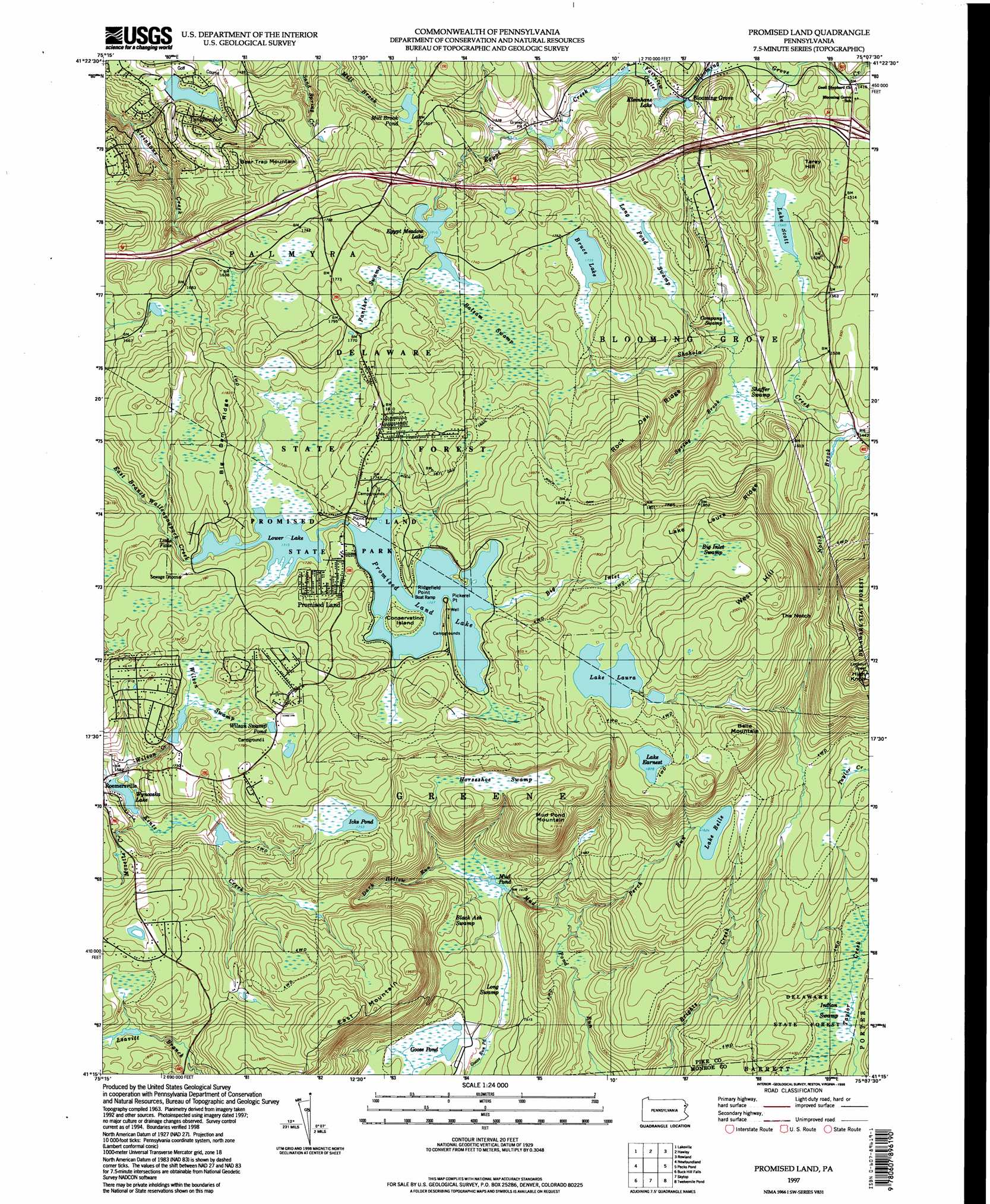 Promised Land Topographic Map PA USGS Topo Quad C - Topographical map of pa