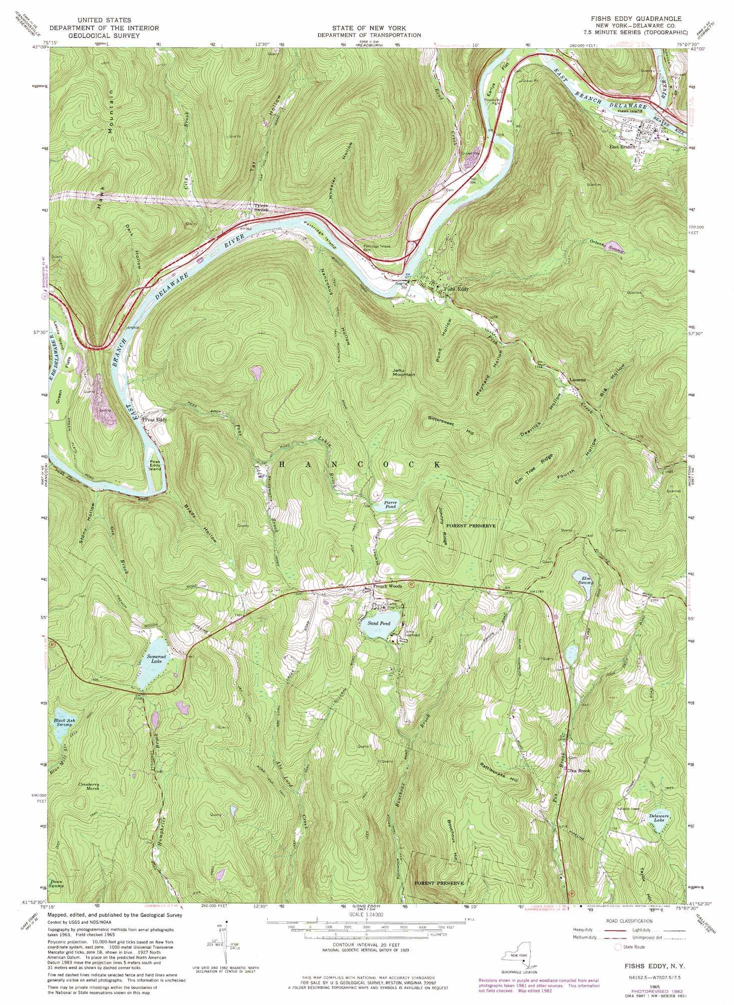 Fishs eddy topographic map ny usgs topo quad 41075h2 for Fishs eddy ny