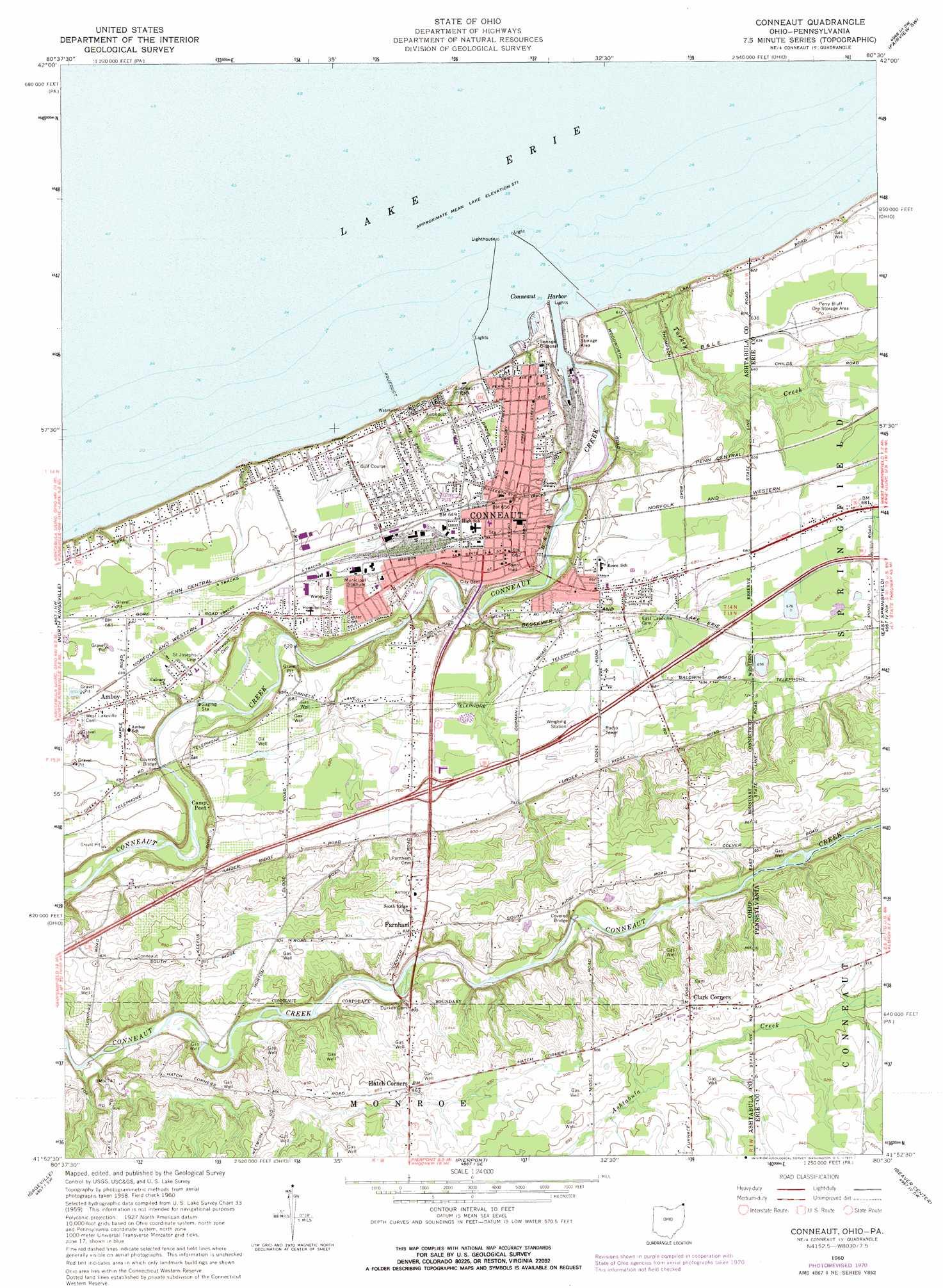 Conneaut Topographic Map Oh Pa Usgs Topo Quad 41080h5