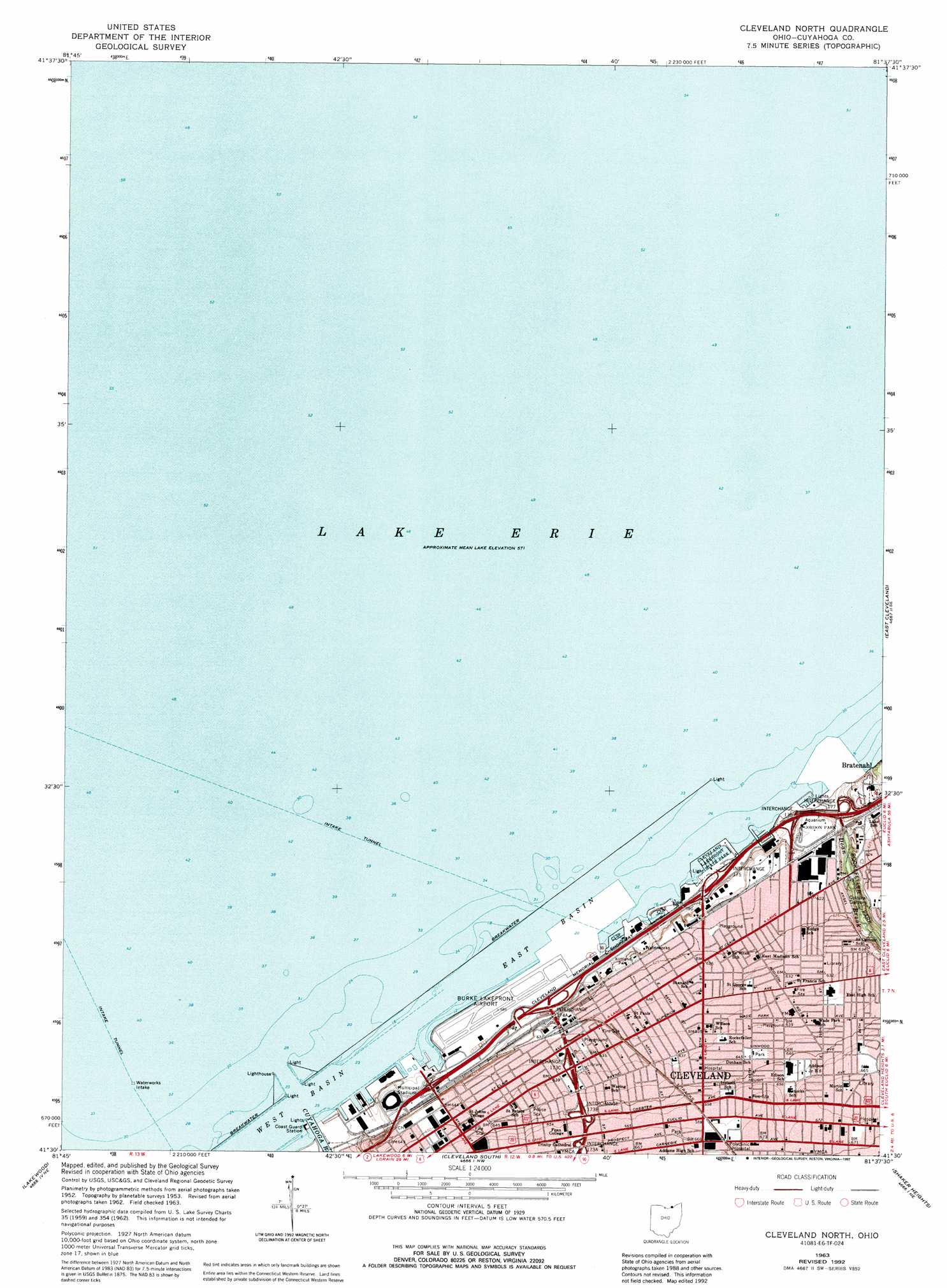 Cleveland North Topographic Map Oh Usgs Topo Quad 41081e6 - Cleveland-us-map