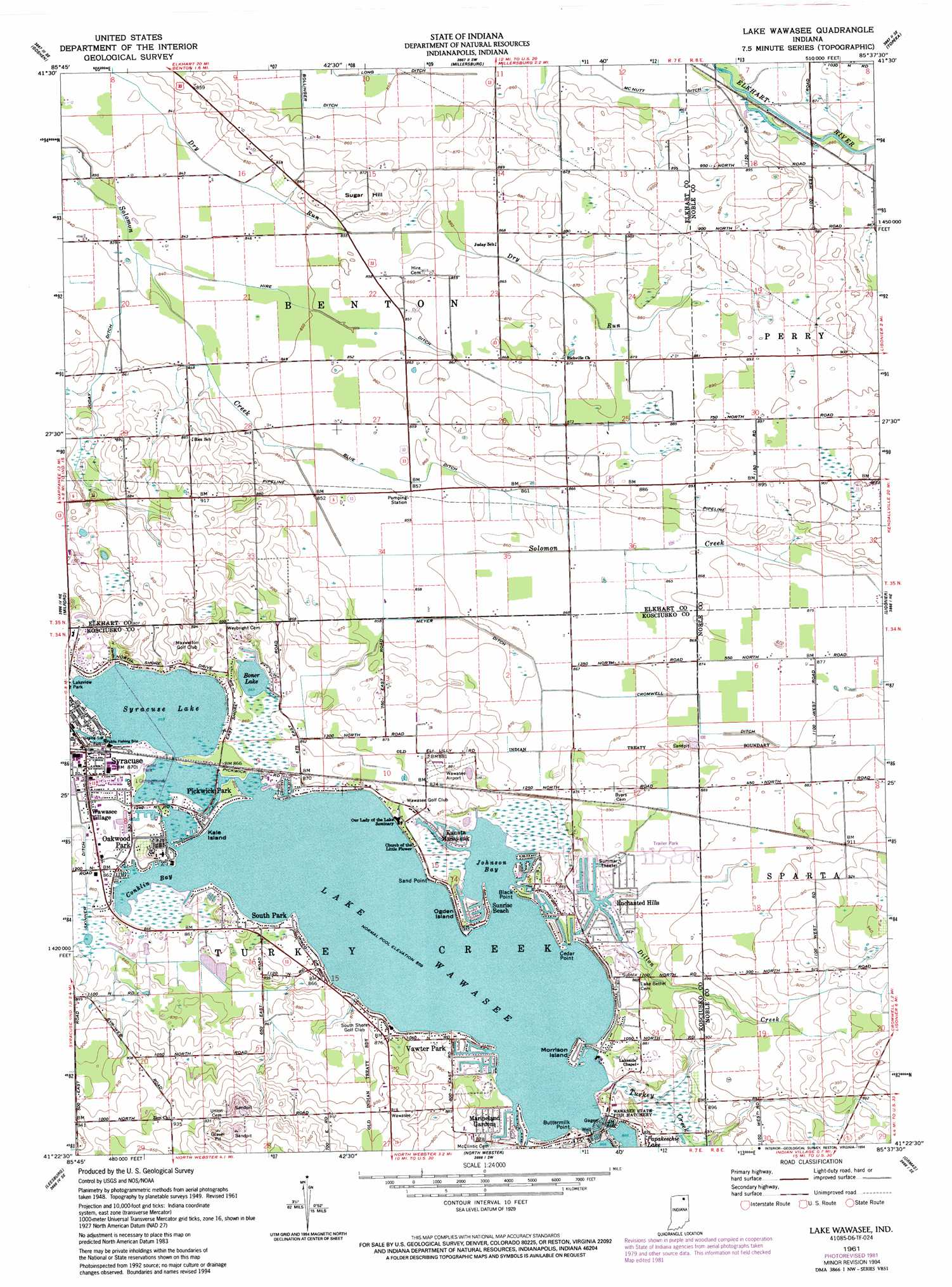 78b096d3d0ed Lake Wawasee topographic map, IN - USGS Topo Quad 41085d6