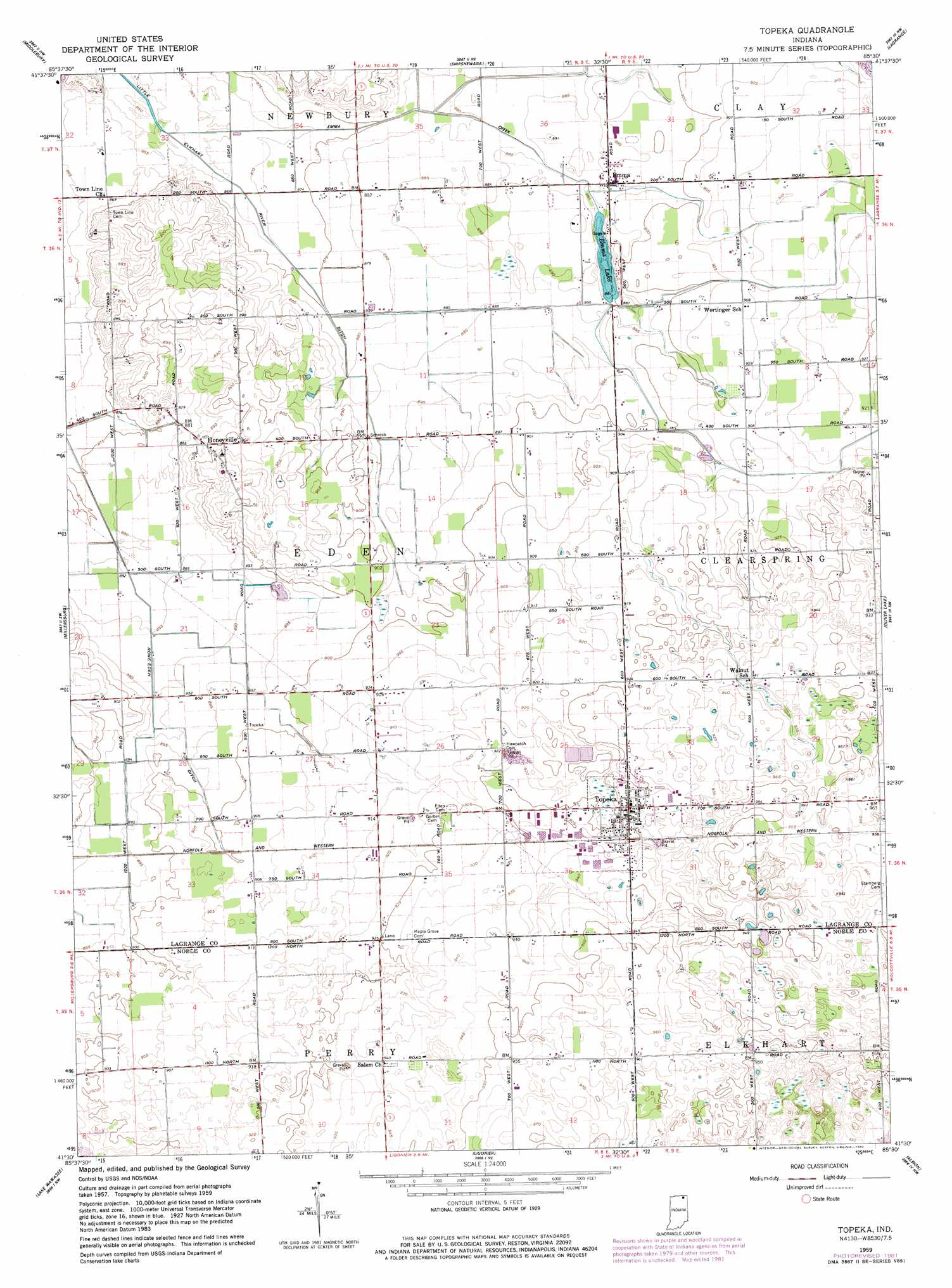 Topeka Topographic Map IN  USGS Topo Quad 41085e5
