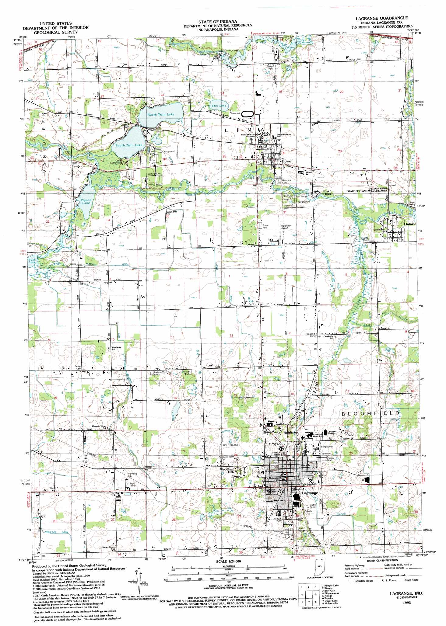 Lagrange topographic map, IN - USGS Topo Quad 41085f4 on indiana division of reclamation, kentucky geological survey maps, wyoming department of transportation maps,