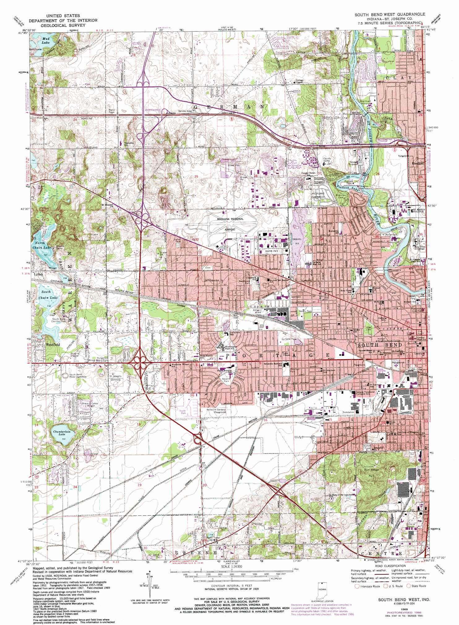 South Bend West Topographic Map In Usgs Topo Quad 41086f3