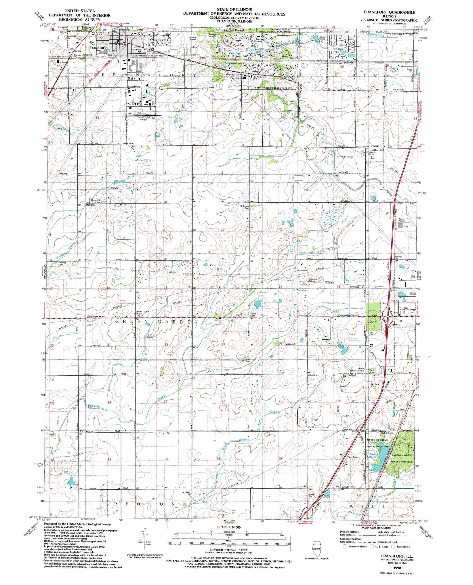 Frankfort Topographic Map IL  USGS Topo Quad 41087d7