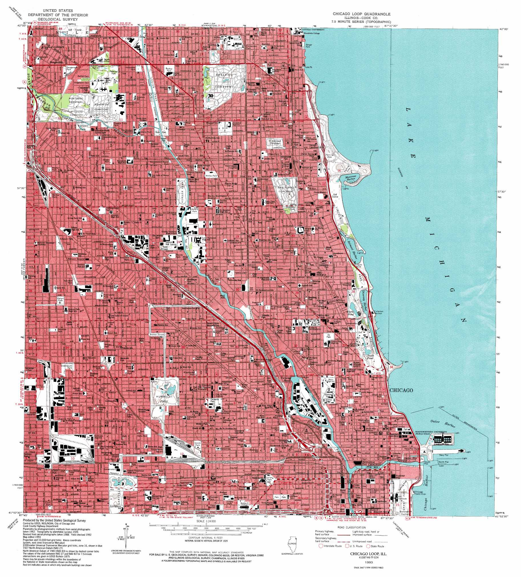 Chicago Loop Topographic Map IL  USGS Topo Quad 41087h6