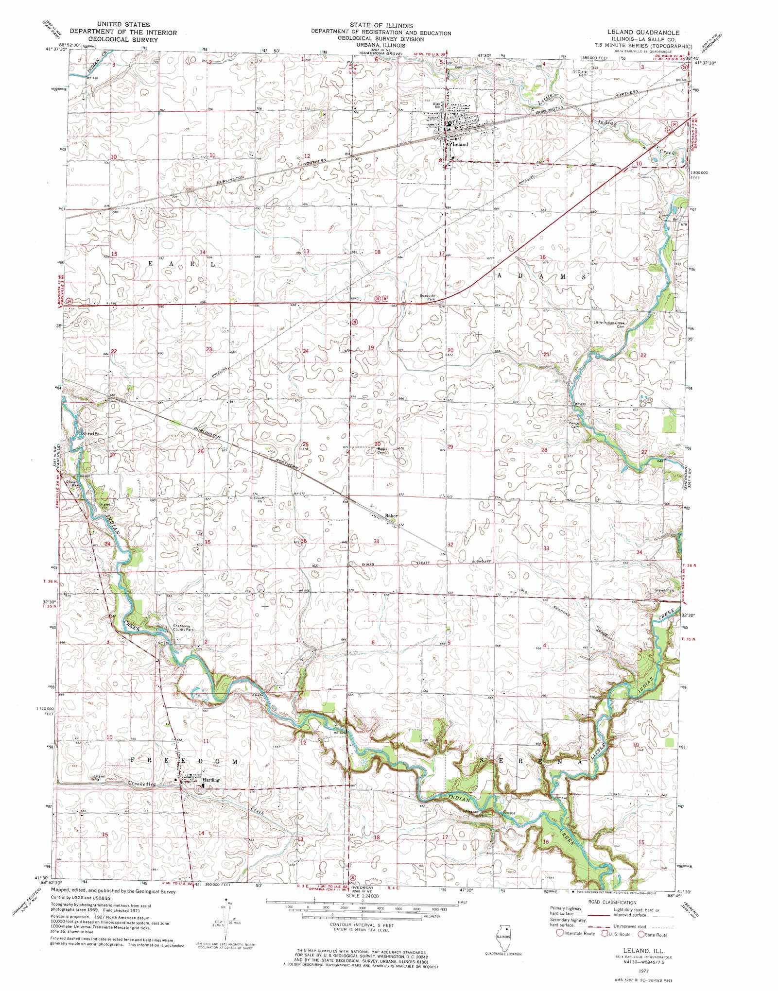 Leland Topographic Map IL  USGS Topo Quad 41088e7