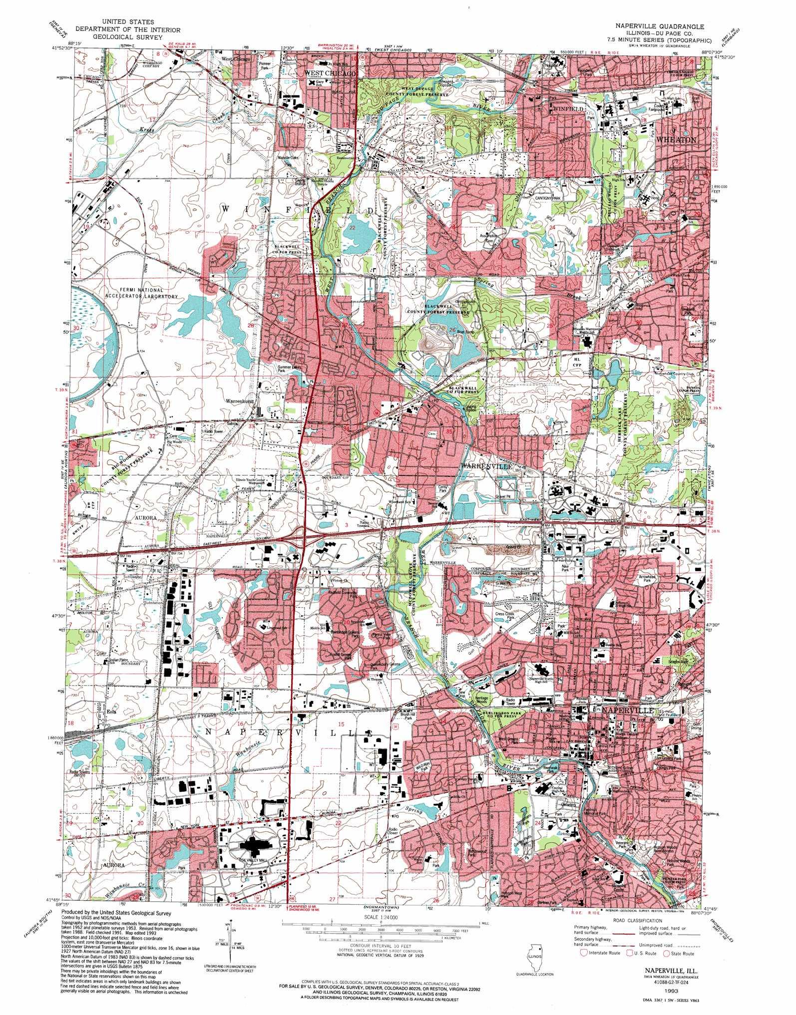 Naperville topographic map IL USGS Topo Quad 41088g2