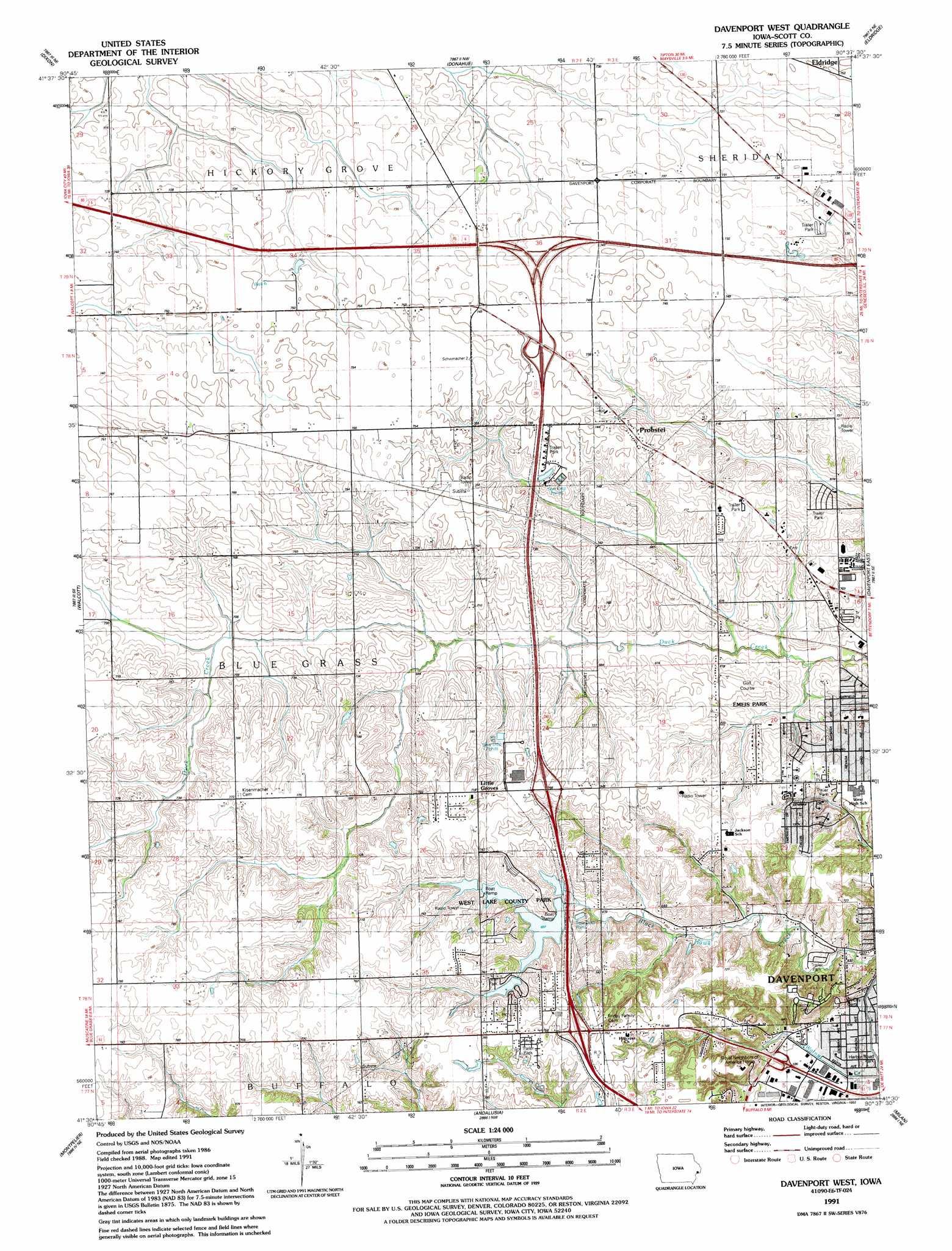 Davenport West Topographic Map Ia Usgs Topo Quad 41090e6