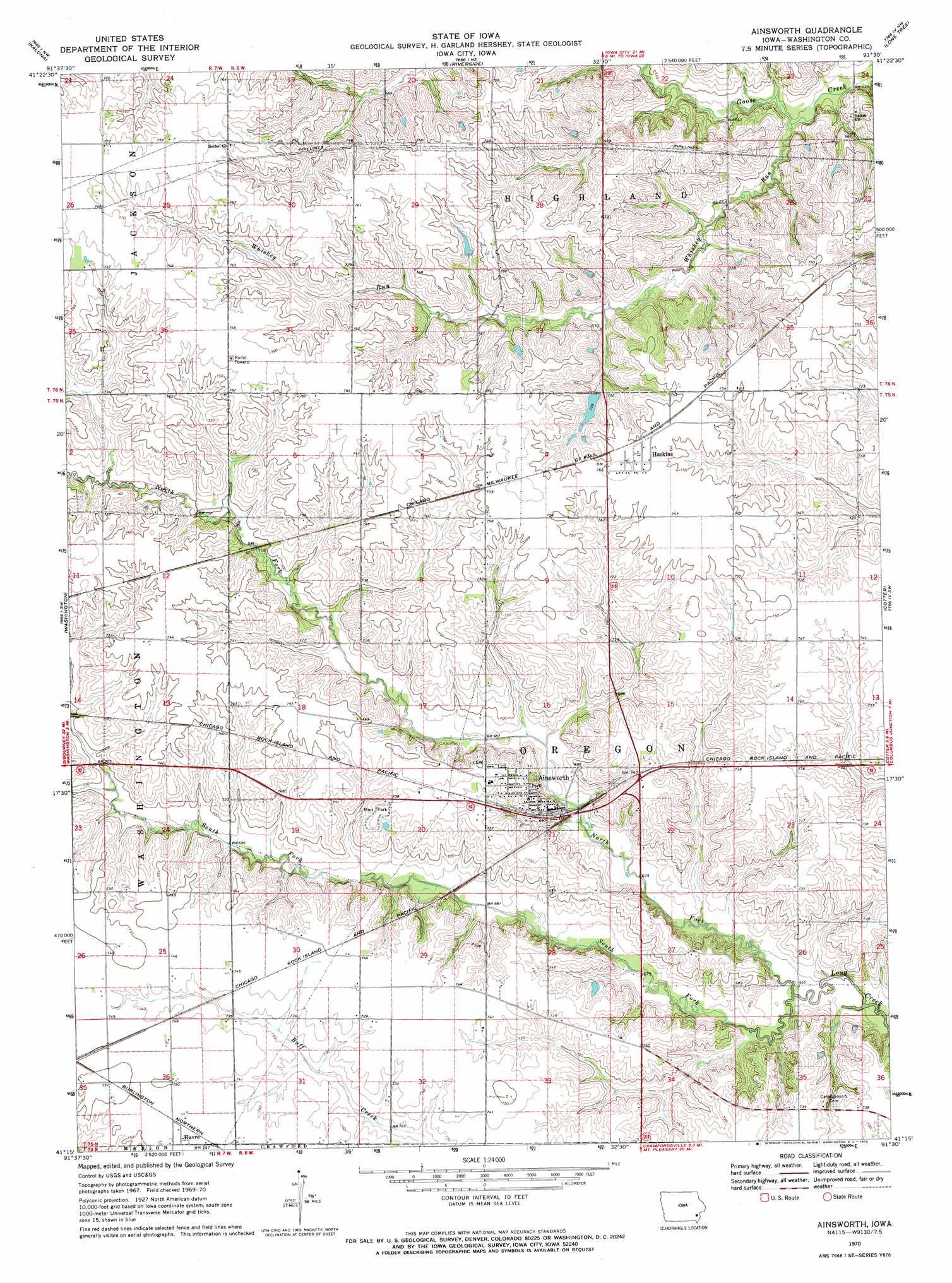 Ainsworth topographic map, IA - USGS Topo Quad 41091c5