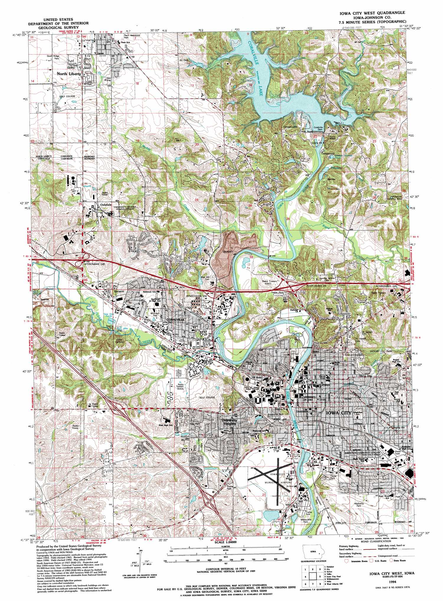 Iowa City West topographic map IA USGS Topo Quad 41091f5