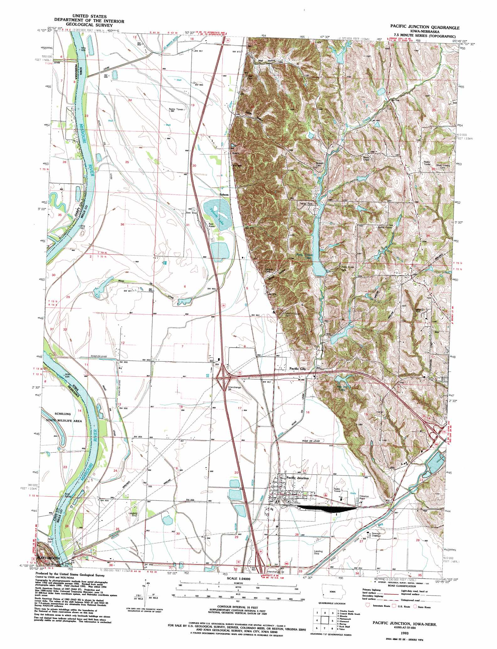 Worksheet. Pacific Junction topographic map IA NE  USGS Topo Quad 41095a7