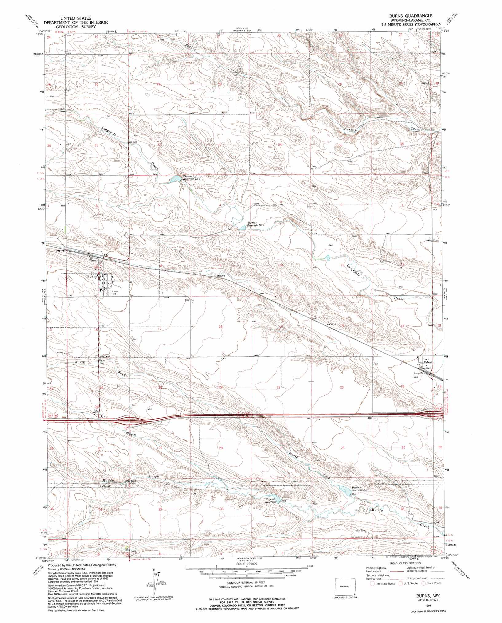 Burns topographic map WY USGS Topo Quad 41104b3