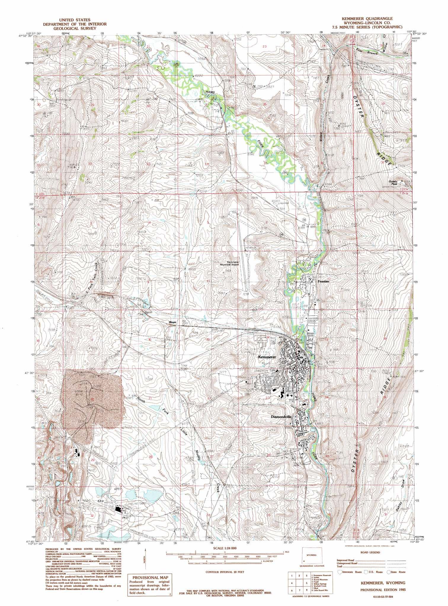 Kemmerer Topographic Map WY  USGS Topo Quad 41110g5