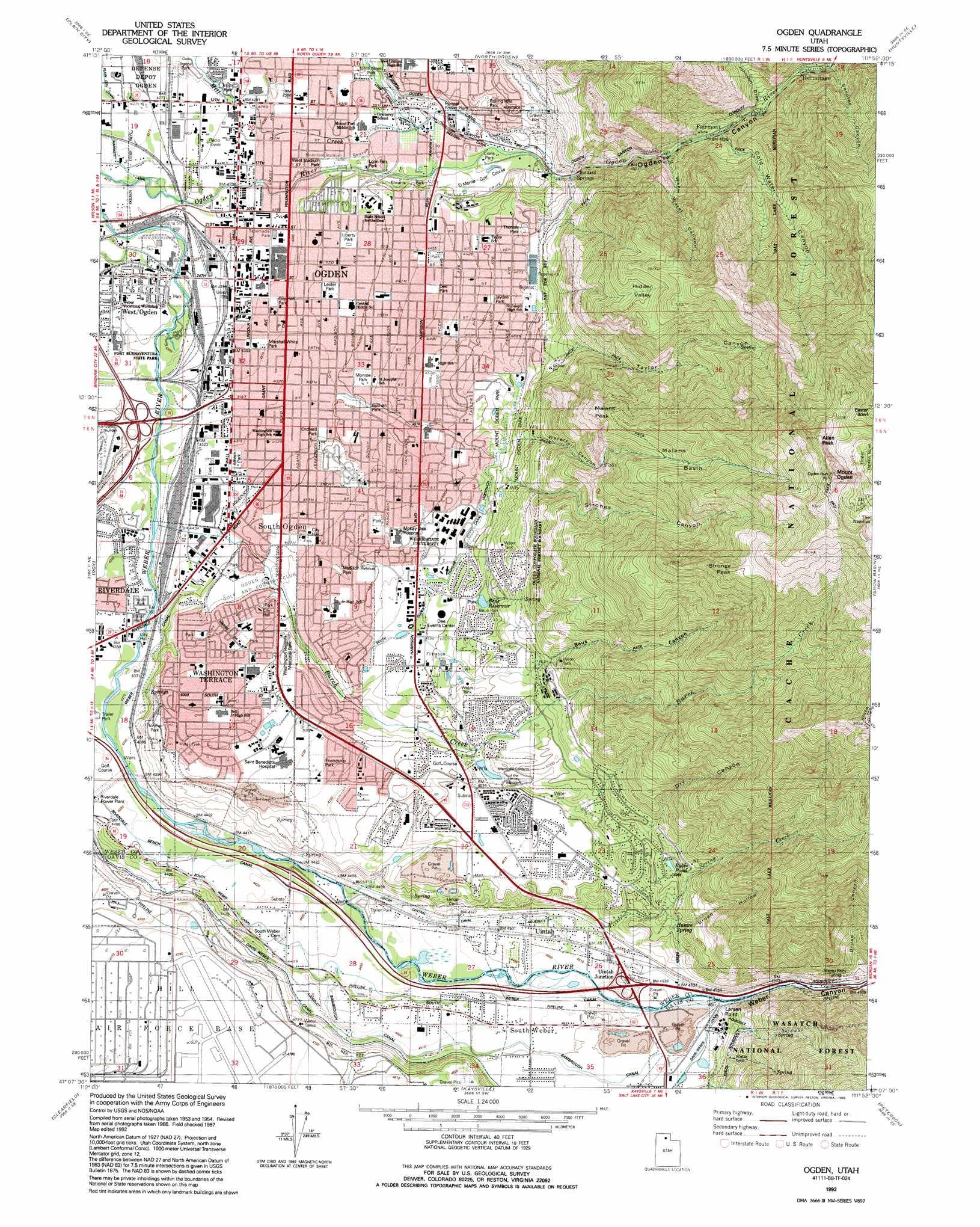 Ogden Topographic Map Ut Usgs Topo Quad 41111b8