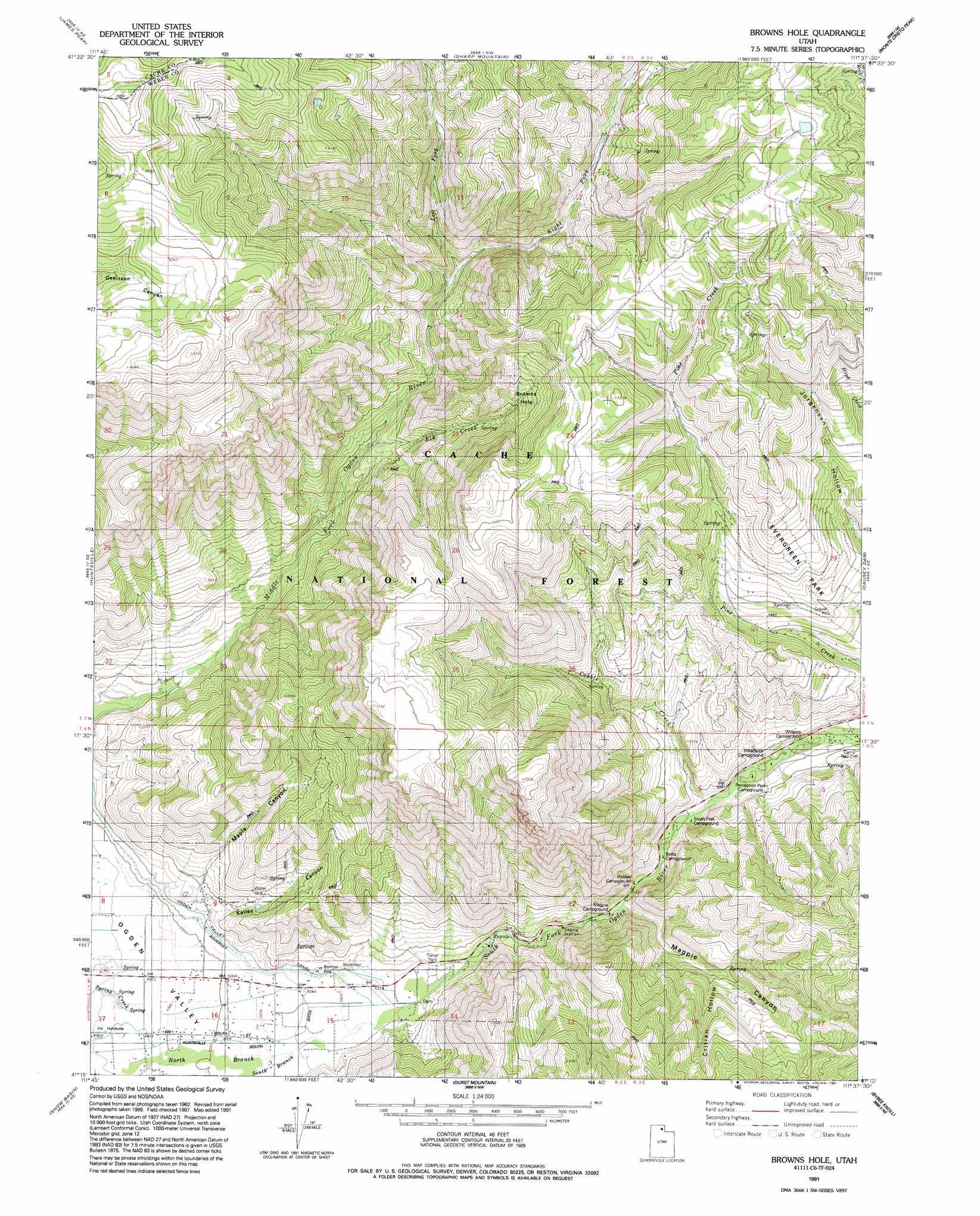 Browns Hole Topographic Map Ut Usgs Topo Quad 41111c6