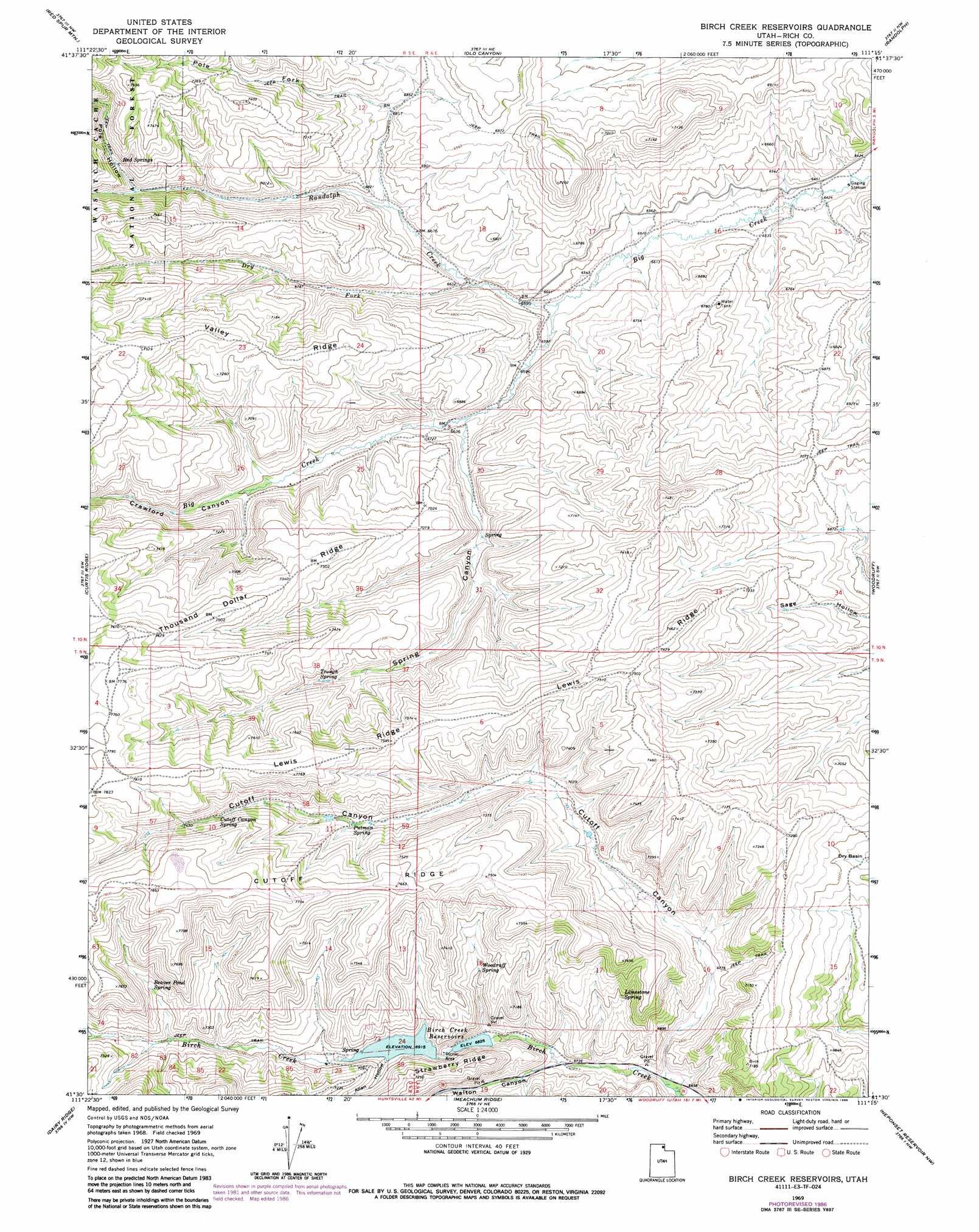 Birch Creek Reservoirs Topographic Map Ut Usgs Topo
