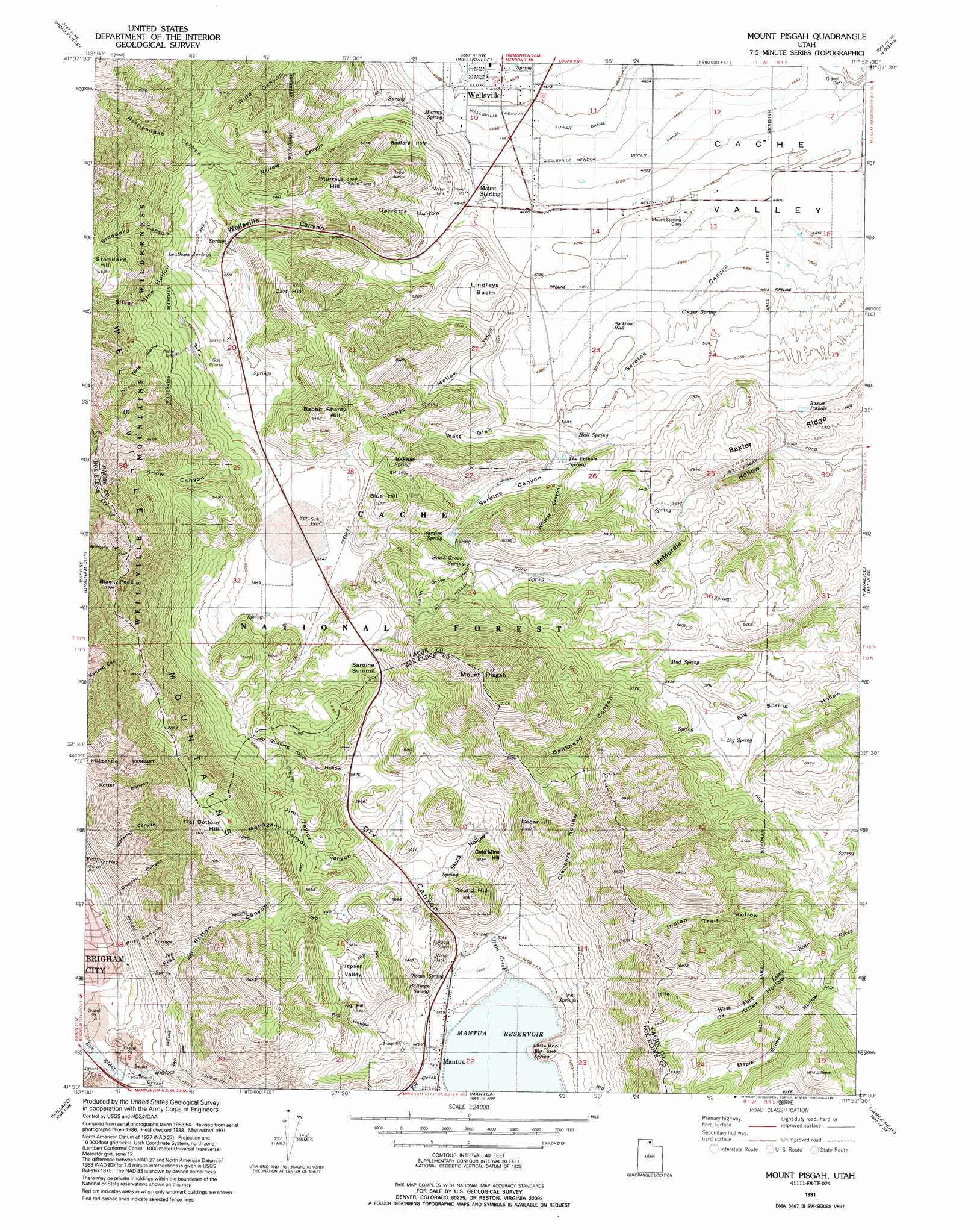 Mount Pisgah Topographic Map UT USGS Topo Quad E - Us geological survey topographic maps for sale