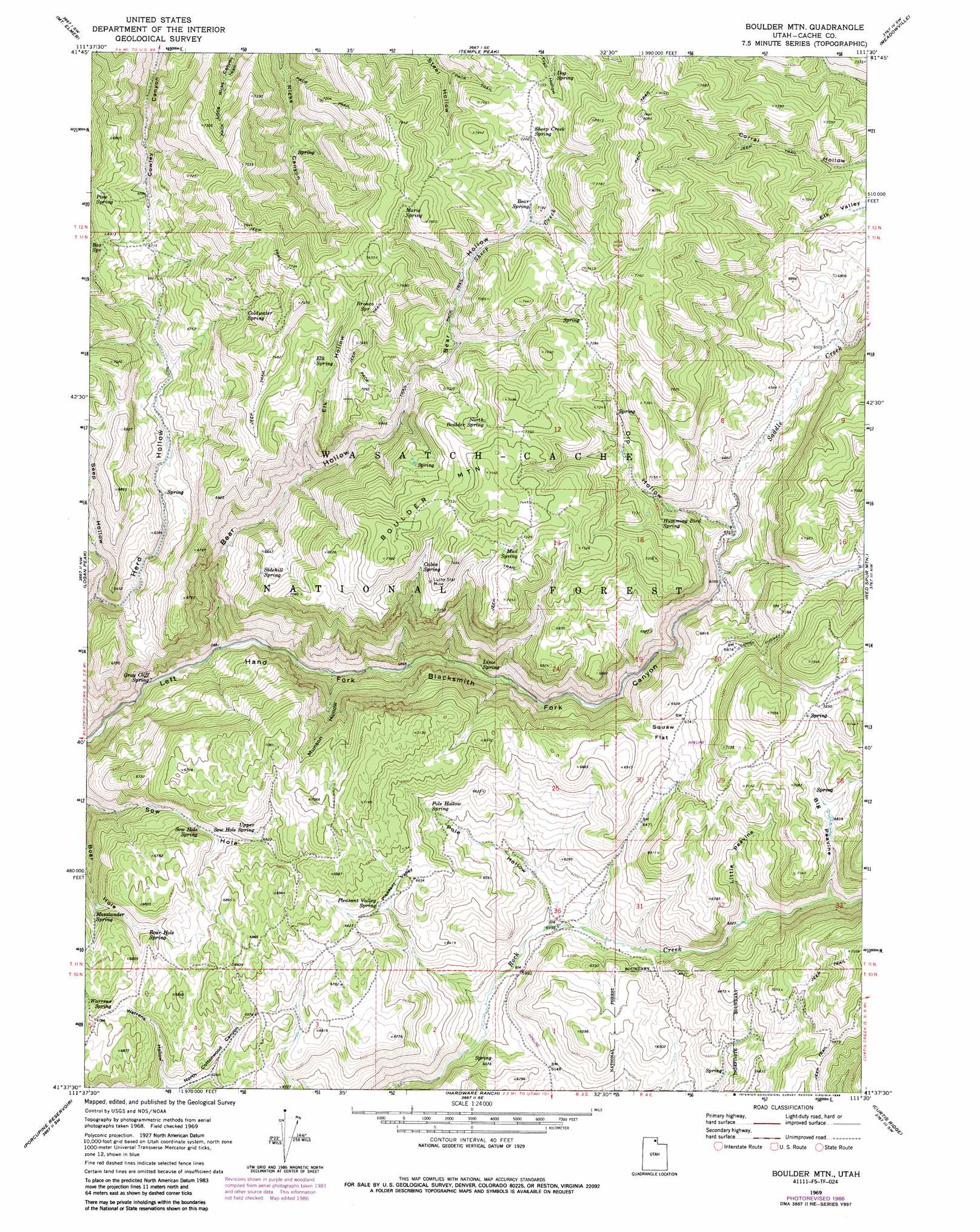 Boulder Mountain Topographic Map UT  USGS Topo Quad 41111f5