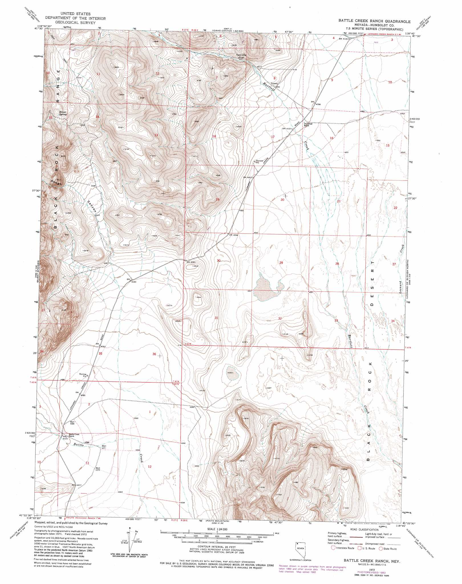 Battle Creek Ranch topographic map NV USGS Topo Quad 41118d7