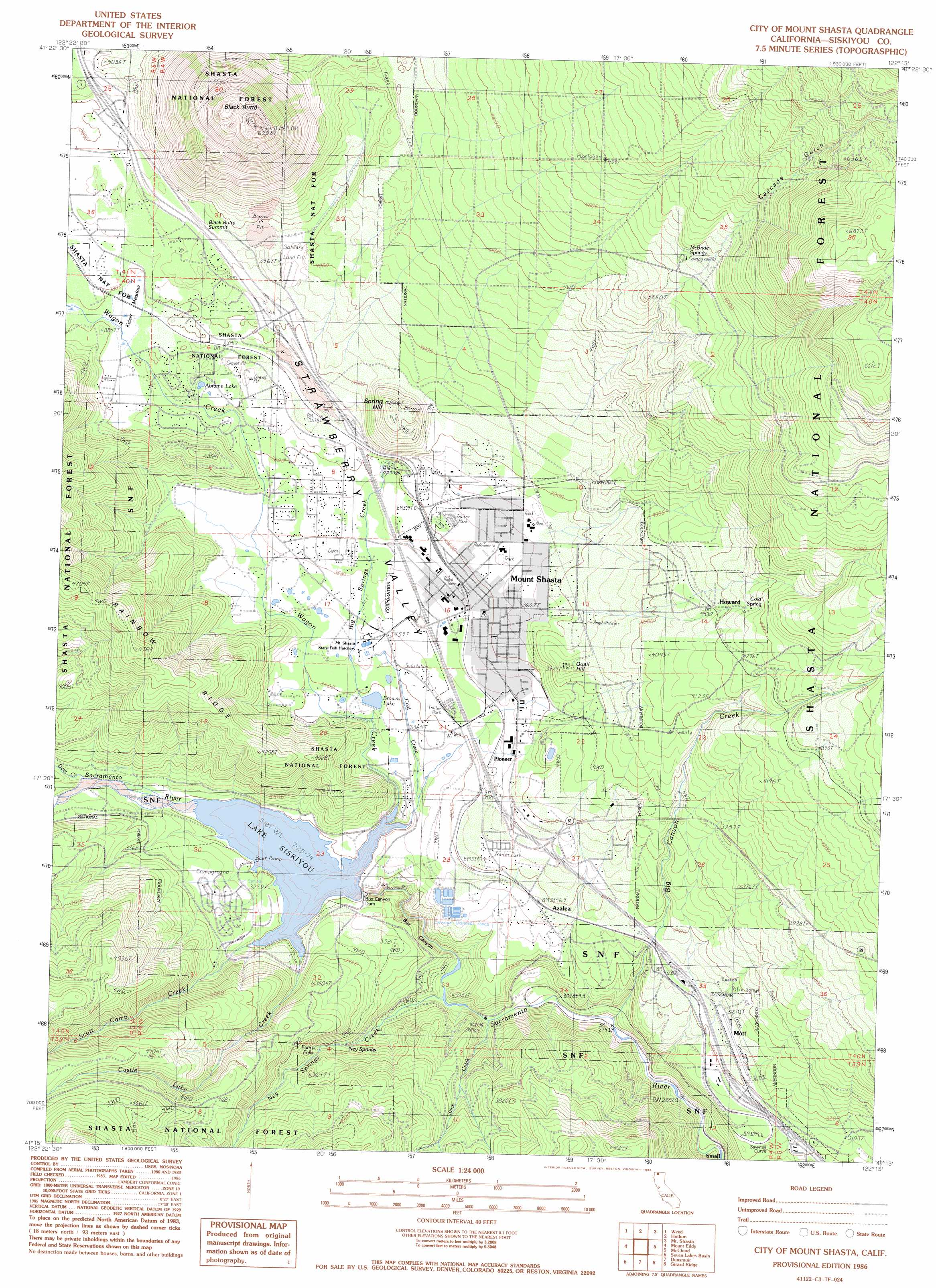 City Of Mount Shasta Topographic Map CA USGS Topo Quad C - Us geological survey topographic maps for sale