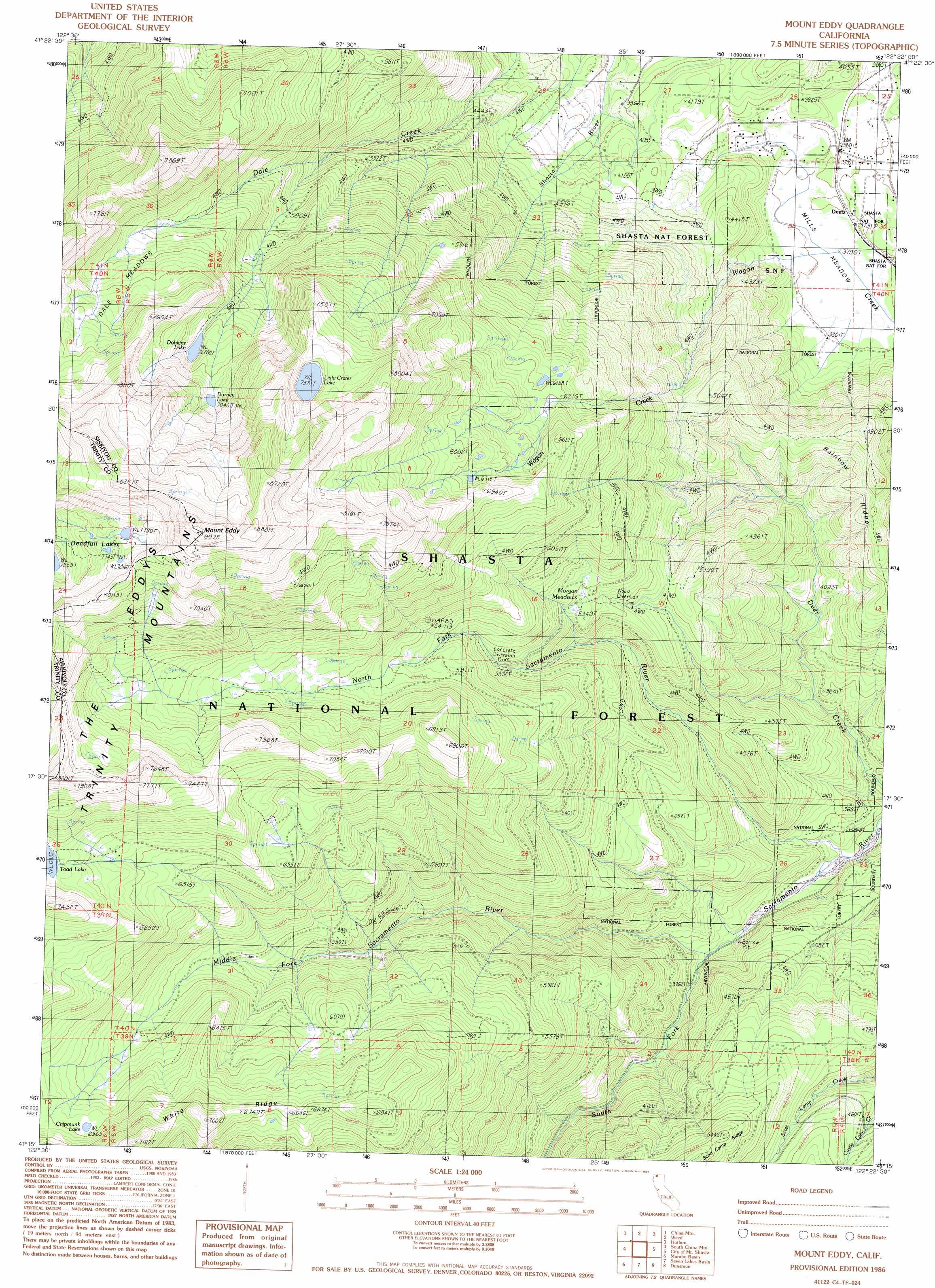 Mount Eddy Topographic Map Ca Usgs Topo Quad 41122c4