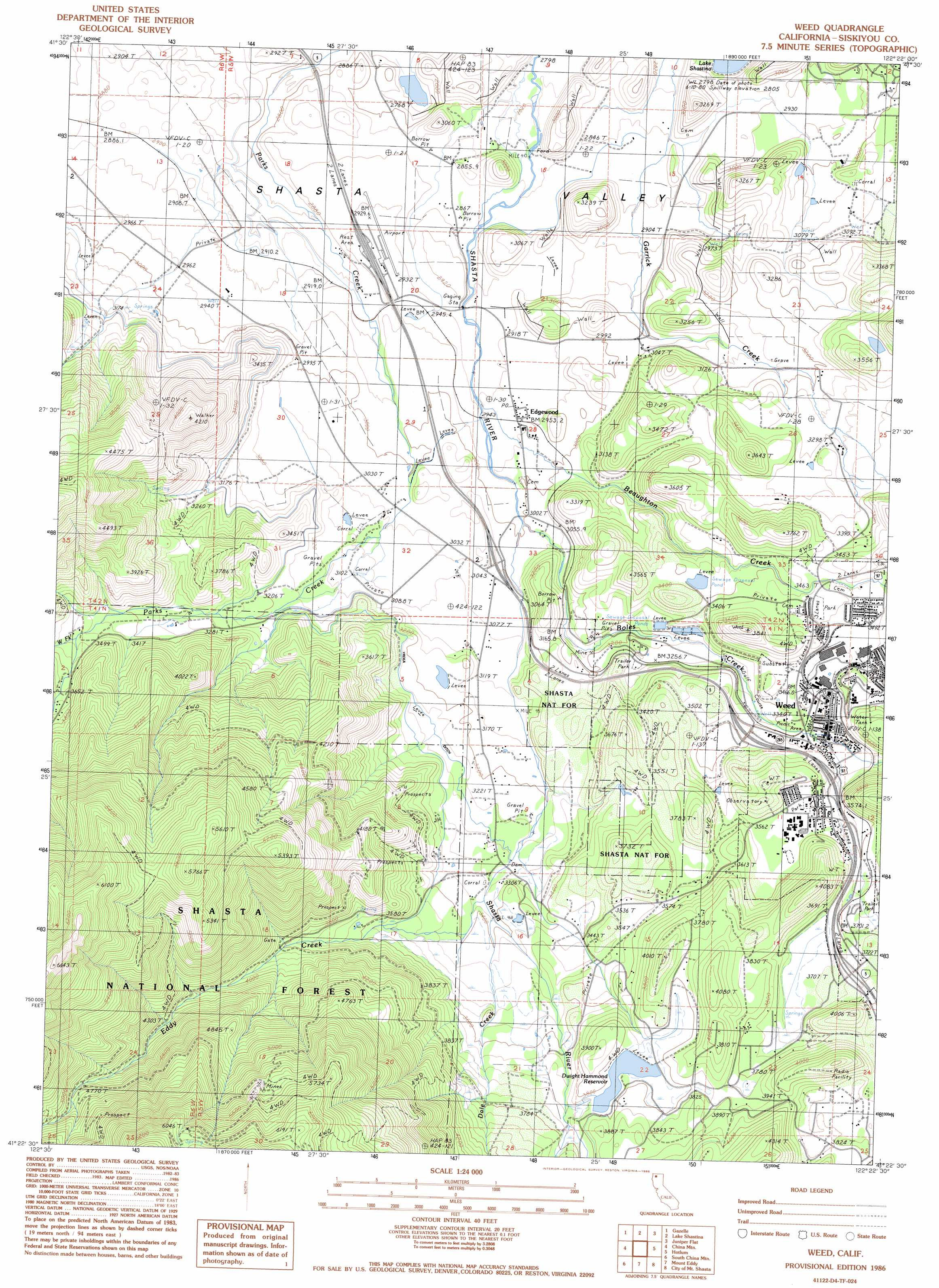 Weed Topographic Map CA USGS Topo Quad D - Us geological survey map legend