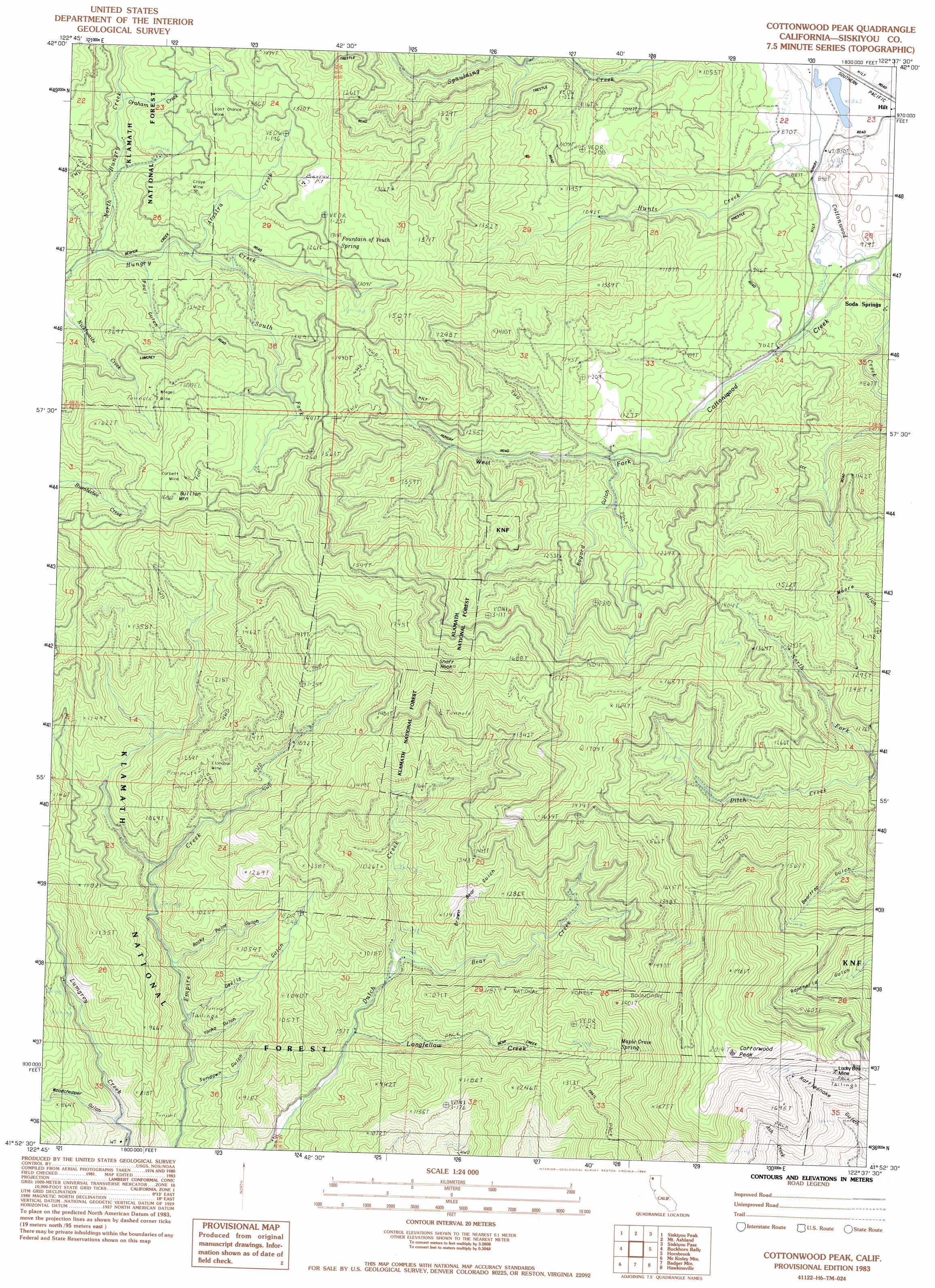 Cottonwood Peak Topographic Map CA  USGS Topo Quad 41122h6