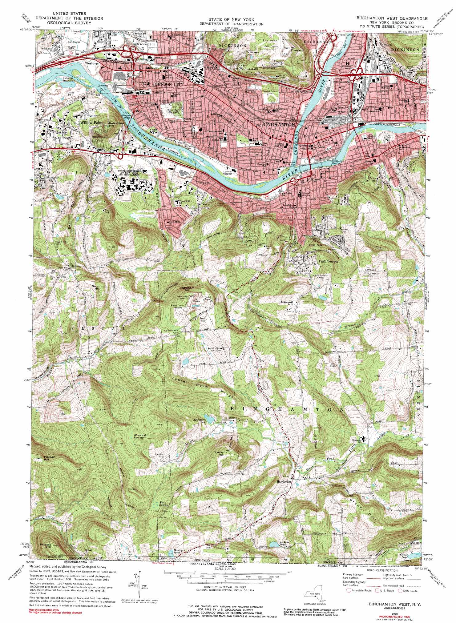Binghamton West Topographic Map Ny Usgs Topo Quad 42075a8