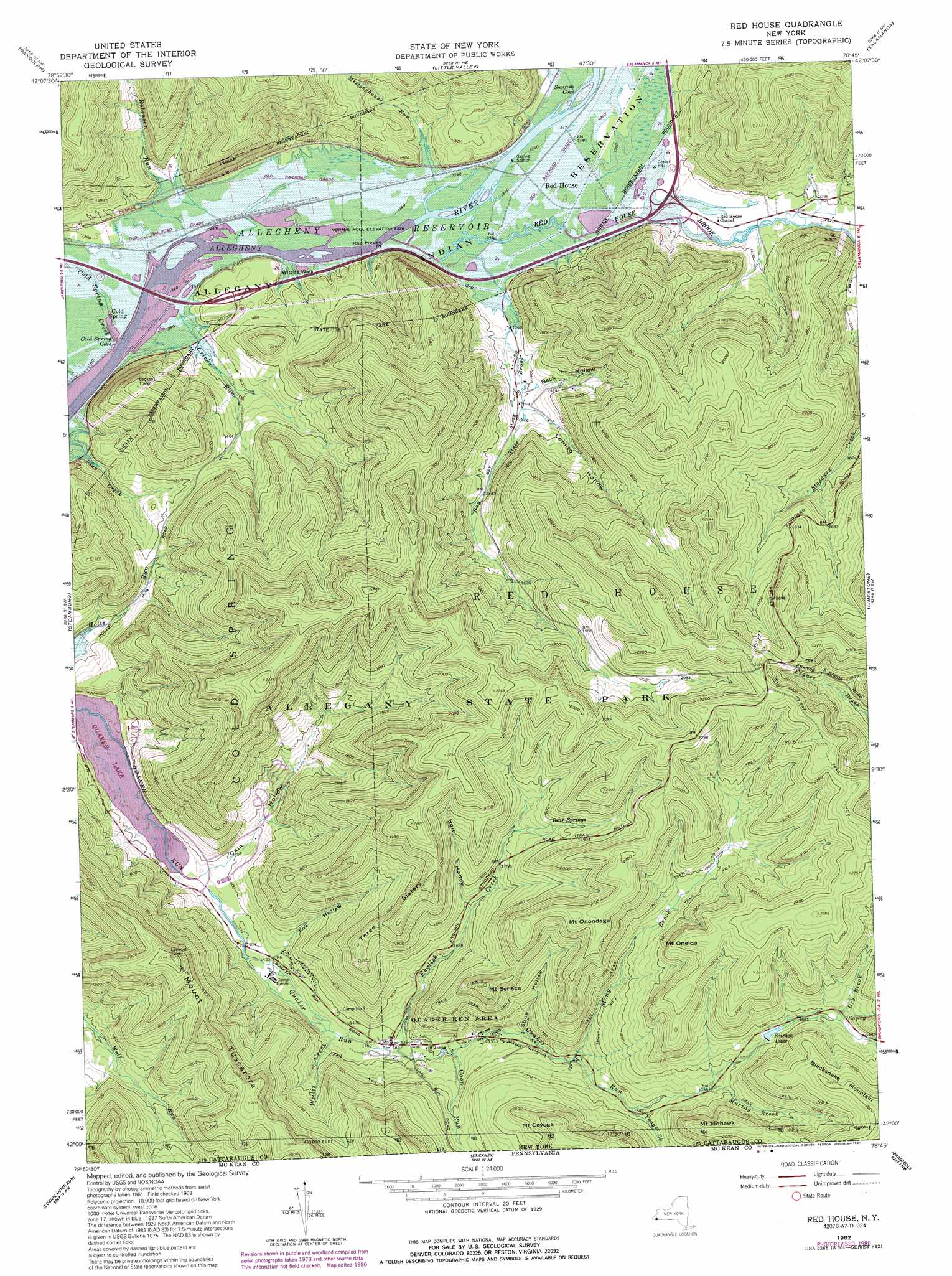 Red House Topographic Map, NY