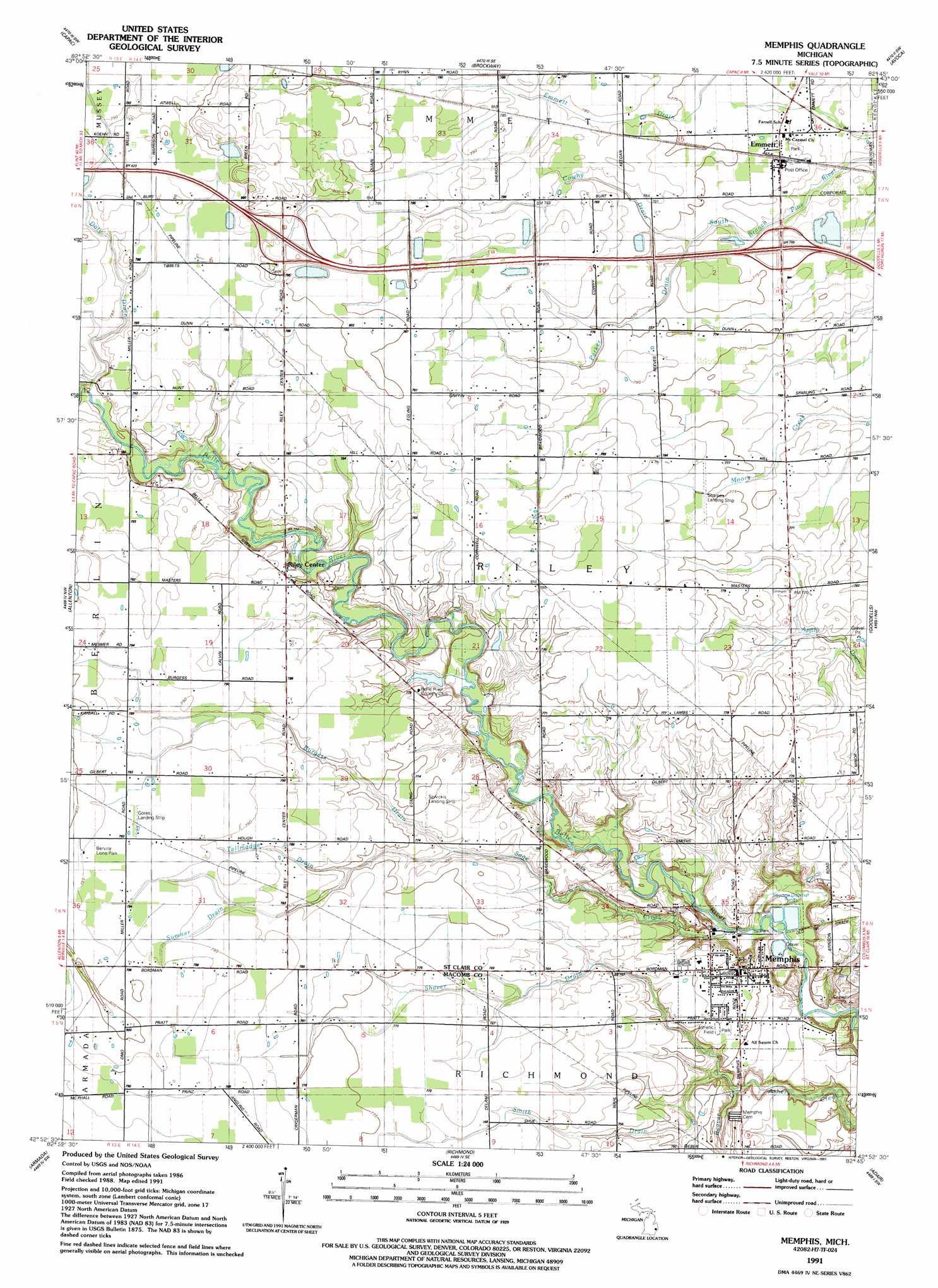 Memphis Michigan Map.Memphis Topographic Map Mi Usgs Topo Quad 42082h7