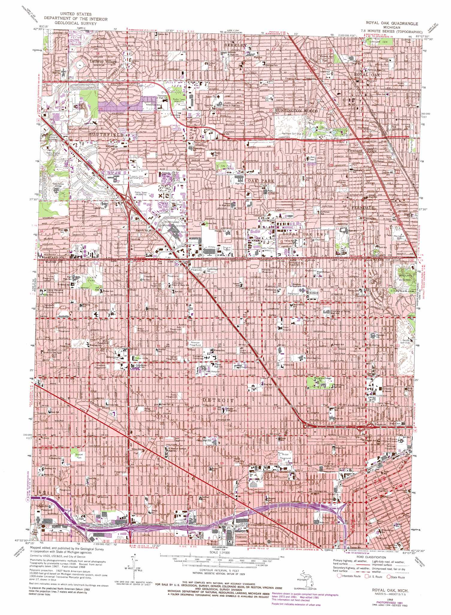 Royal Oak topographic map MI USGS Topo Quad 42083d2