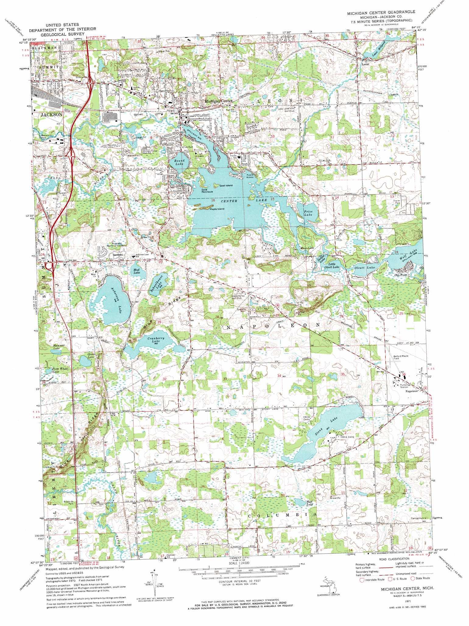 michigan center lake map Michigan Center Topographic Map Mi Usgs Topo Quad 42084b3 michigan center lake map