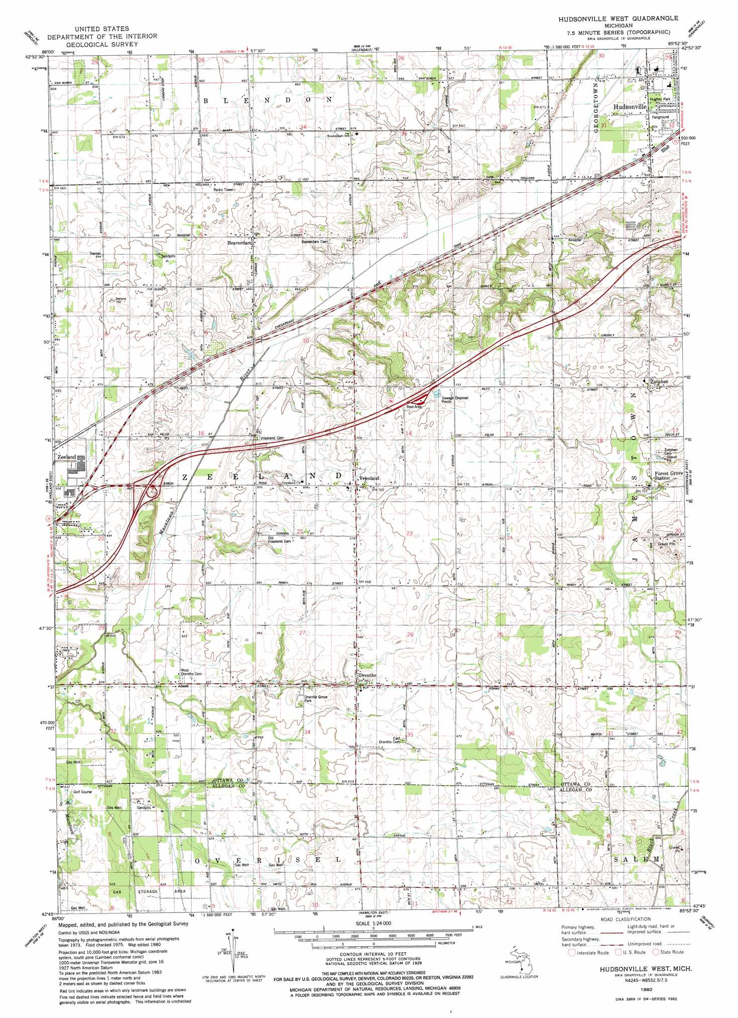 Hudsonville West topographic map MI USGS Topo Quad 42085g8