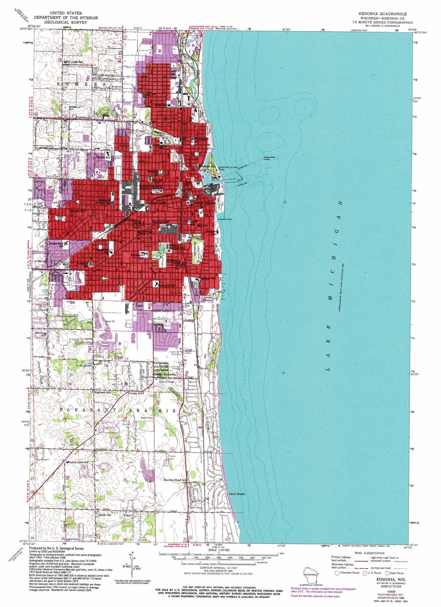 Kenosha Topographic Map WI  USGS Topo Quad 42087e7