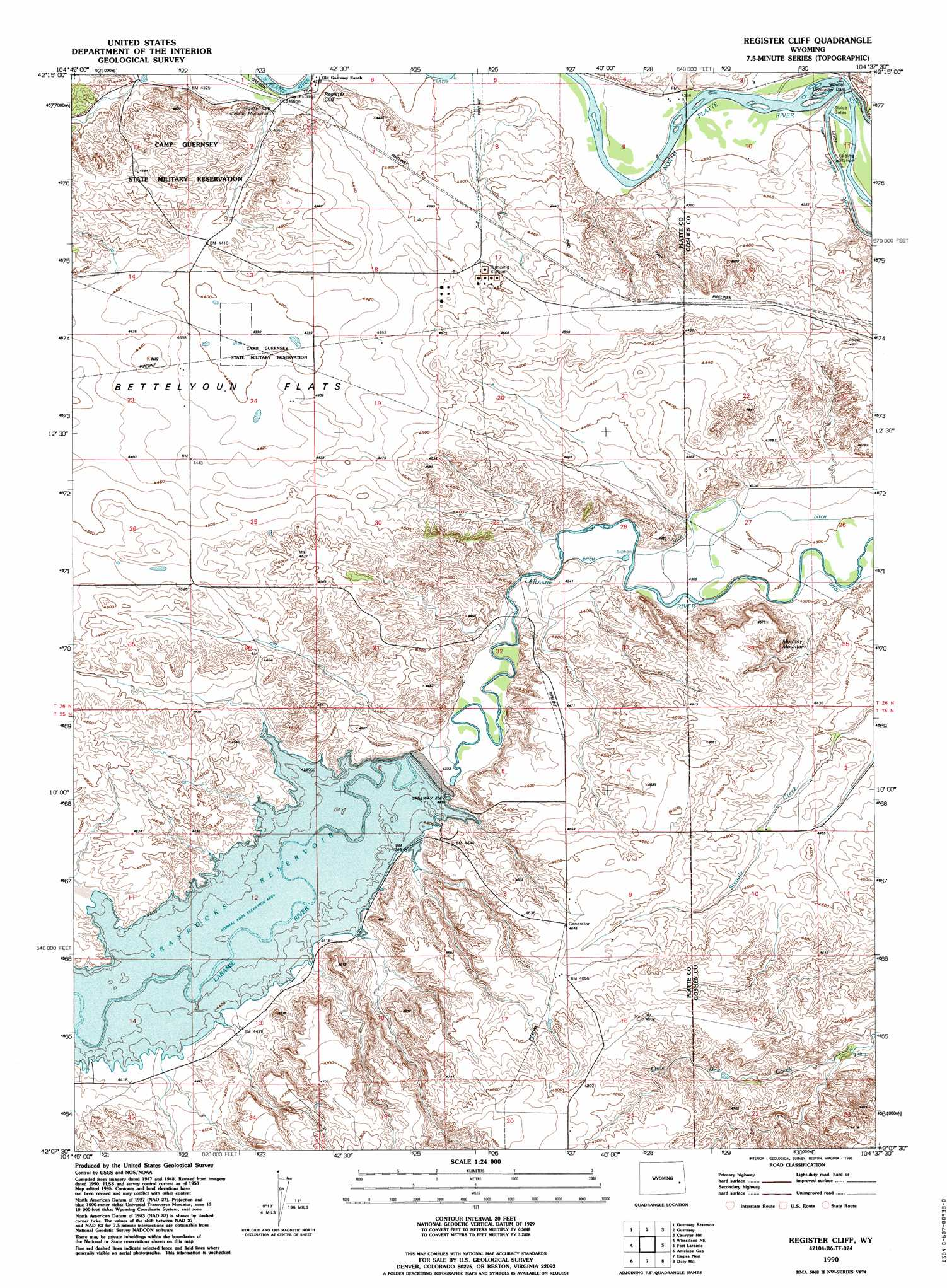 Register Cliff topographic map, WY - USGS Topo Quad 42104b6 on