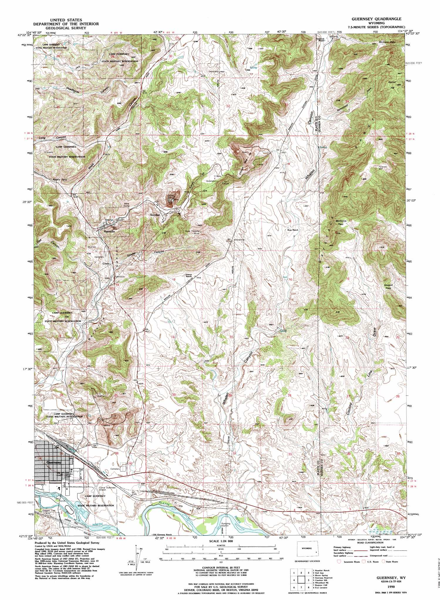 Guernsey topographic map, WY   USGS Topo Quad 42104c6