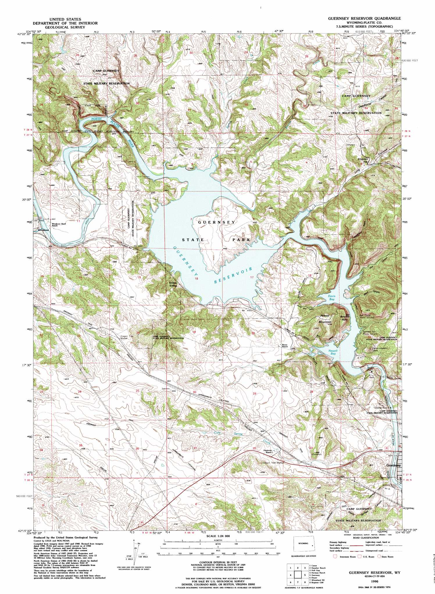Guernsey Reservoir Topographic Map WY  USGS Topo Quad