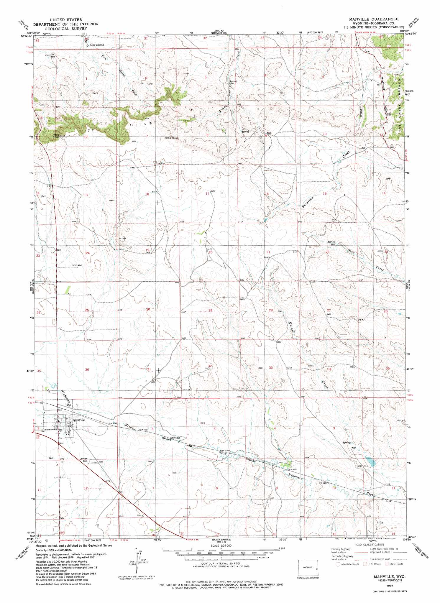 Wyoming topographic map bnhspine manville topographic map wy usgs topo quad 42104g5 buycottarizona Image collections